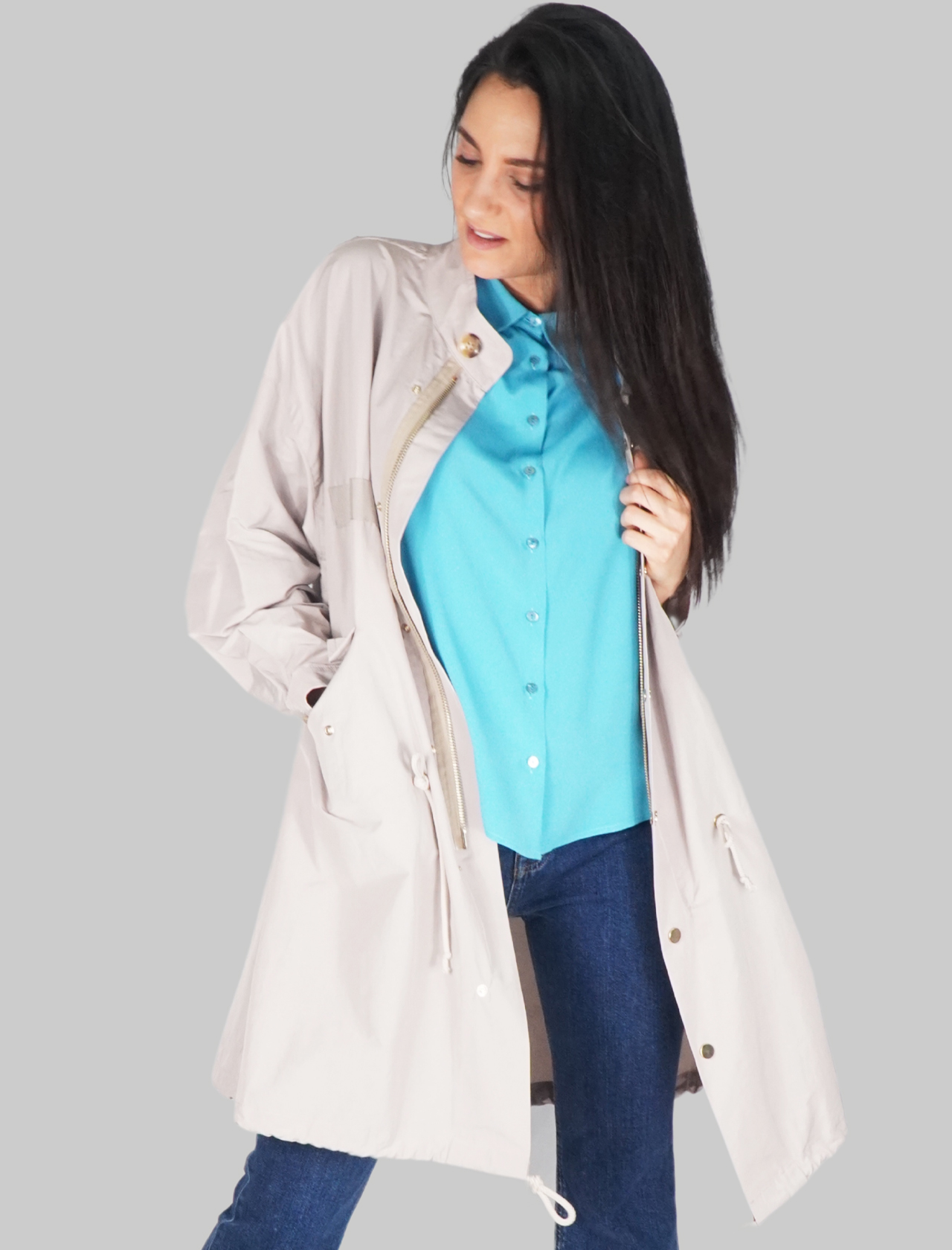 Women's Clothing Duster Coat Single-Breasted Over Trench in Ivory Color with Zipper and Buttons Mercì |  | H135R015