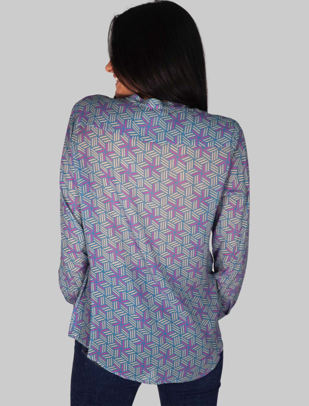 Women's Clothing Blue Patterned Shirt with Contrast Buttons Mercì | Shirts and tops | MC195002