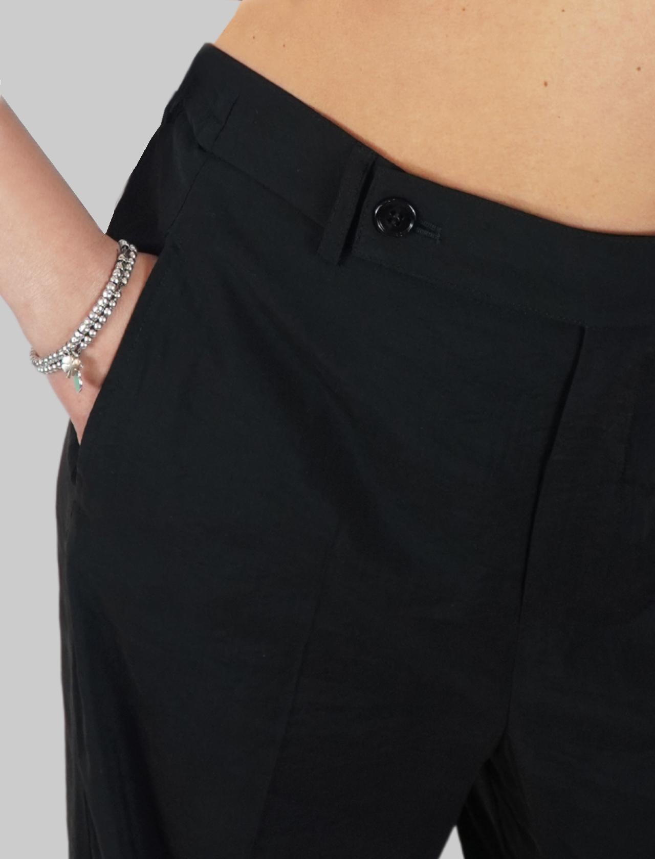 Abbigliamento Donna Pantalone in Tessuto Nero Cupro Largo Elastico Mercì | Gonne e Pantaloni | P245C001