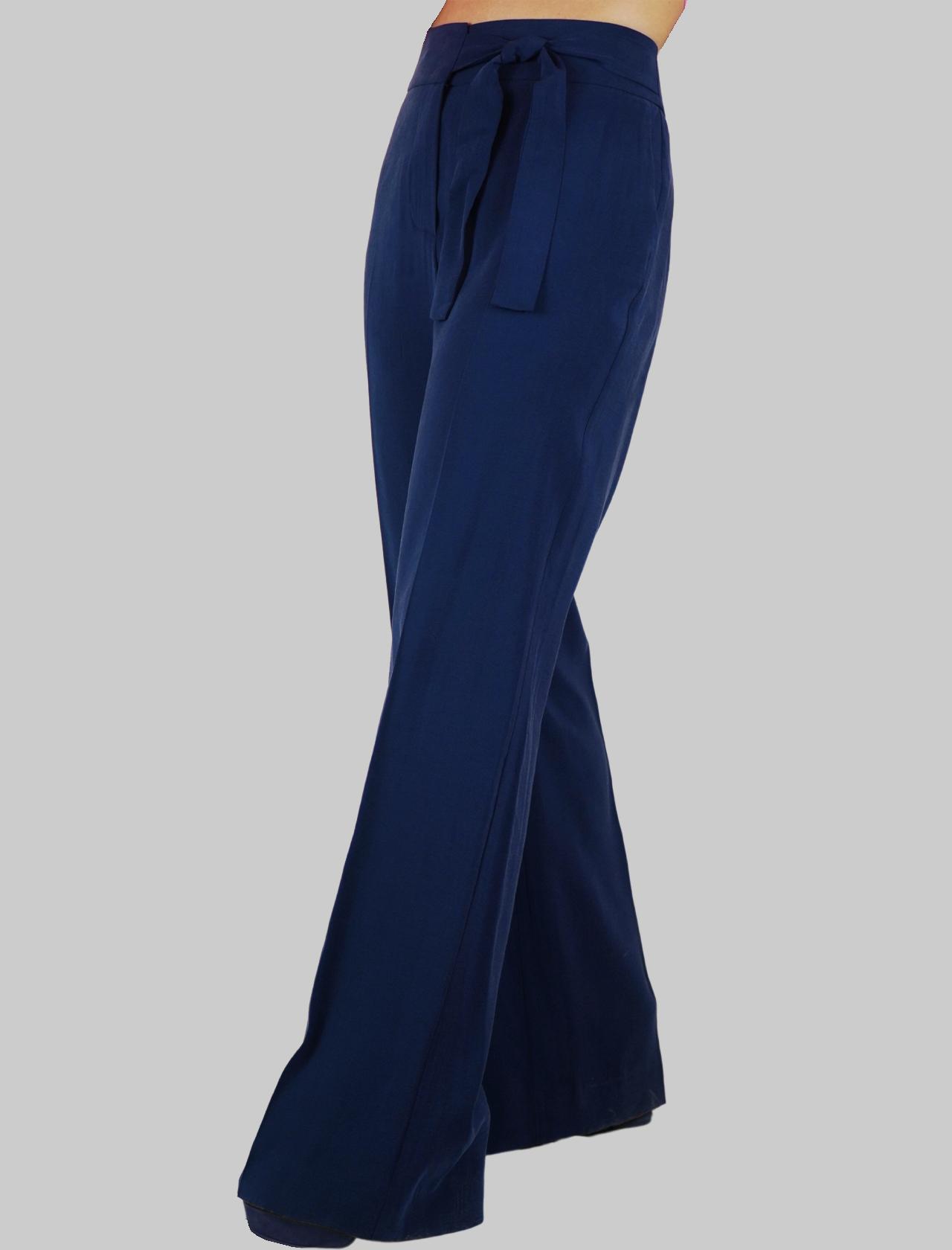 Abbigliamento Donna Pantalone Fiocco in Tessuto Blu Largo con Vestibilità Morbida Mercì | Gonne e Pantaloni | P251U027