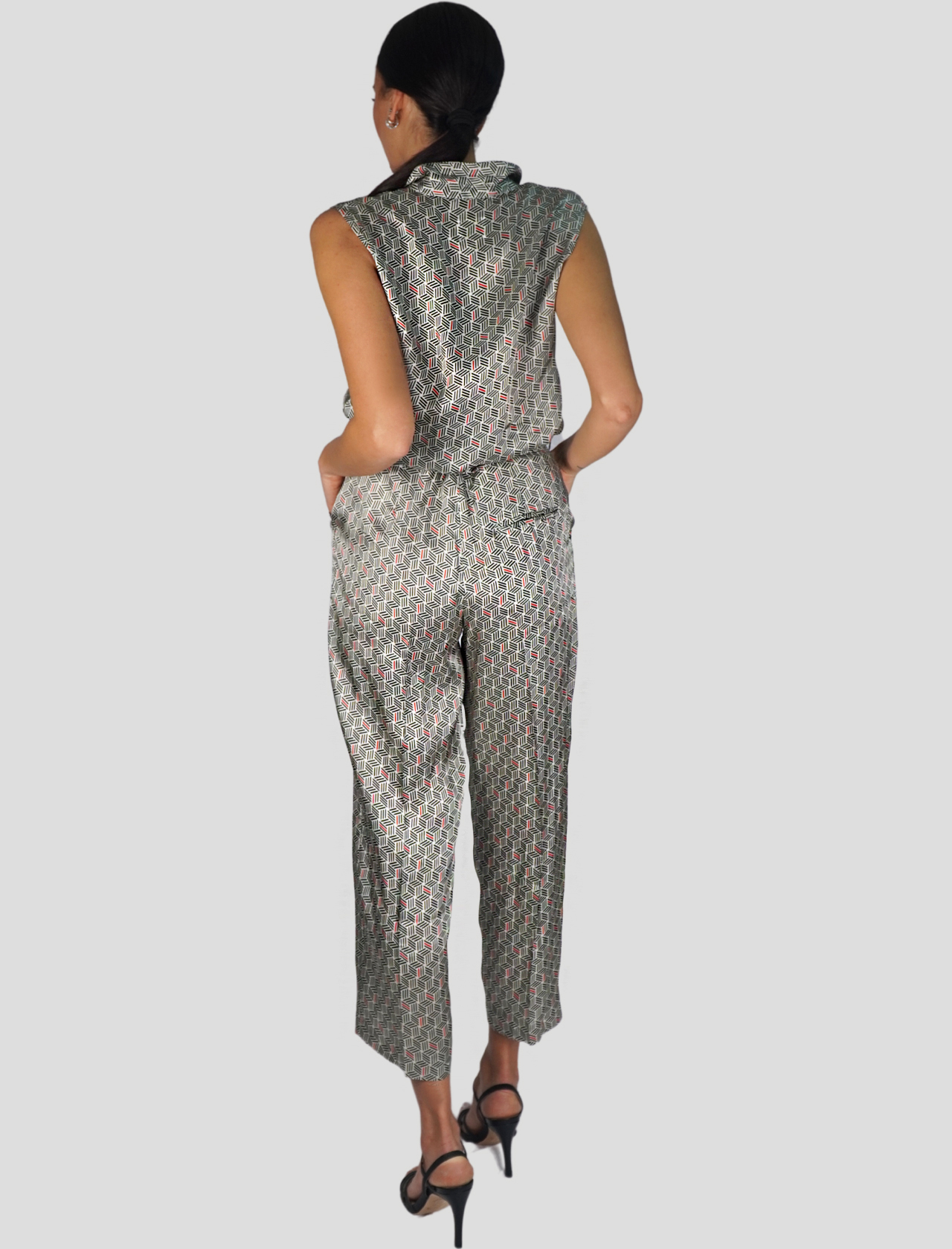 Women's Clothing Dress Long Armhole Suit in Black and White Pattern Mercì |  | TD044900