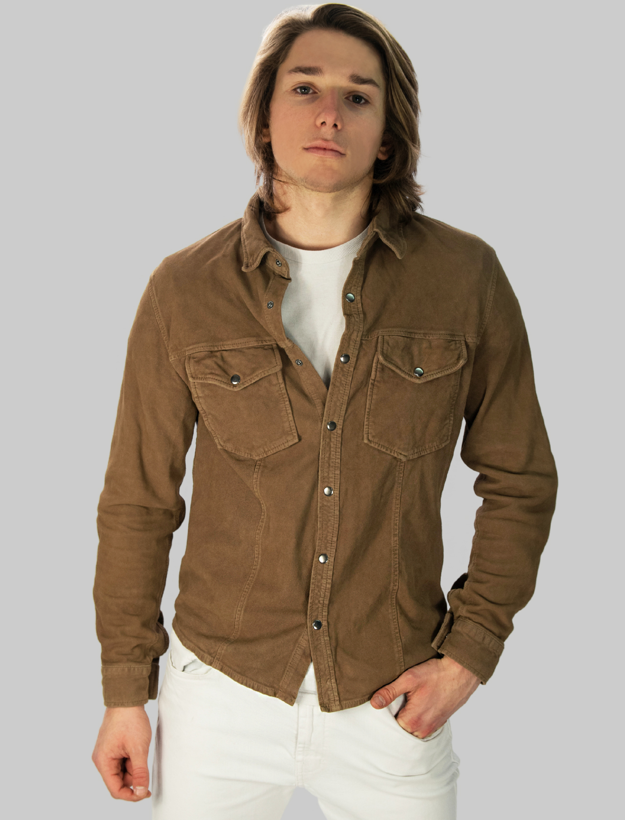 Men's Clothing Taupe Suede Shirt with Snap Buttons Minoronzoni |  | MRS214J203023