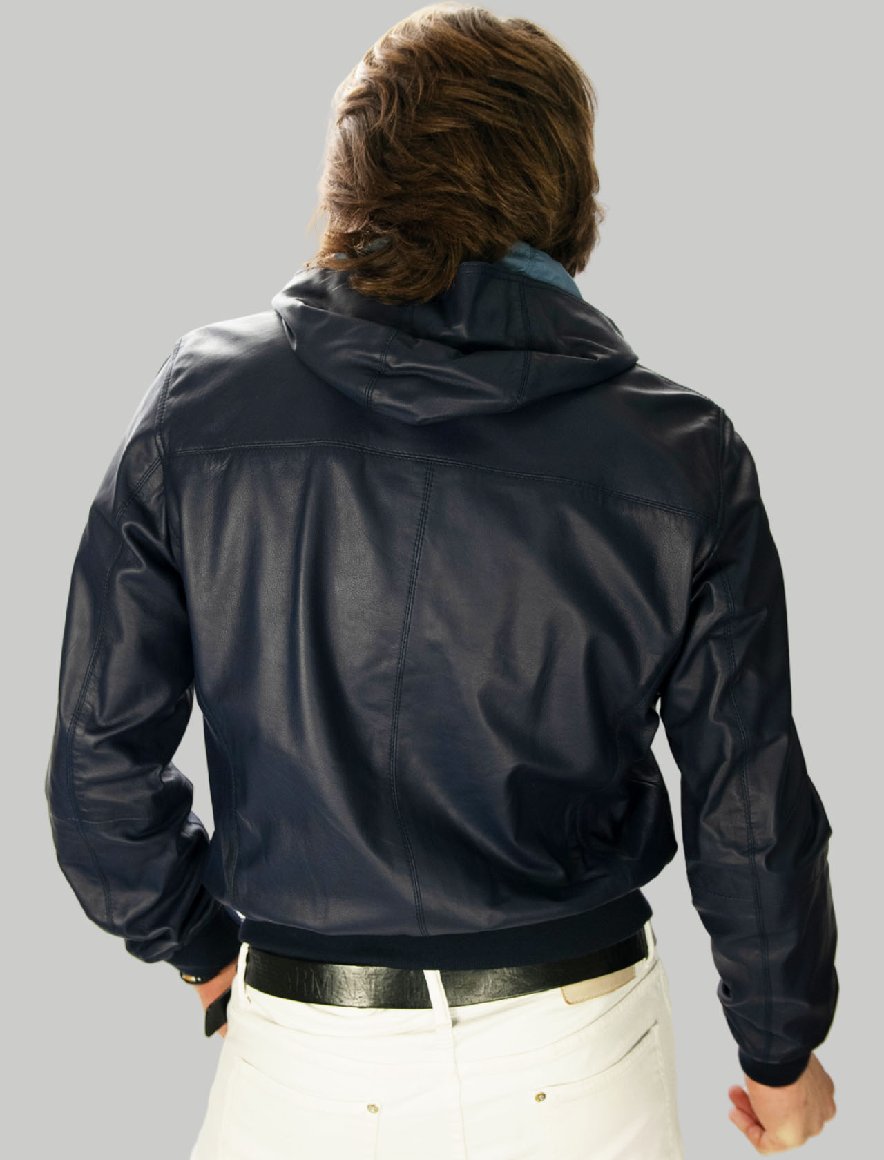 Men's Clothing Blue Reversible Leather Jacket with Hood Minoronzoni |  | MRS215J207002