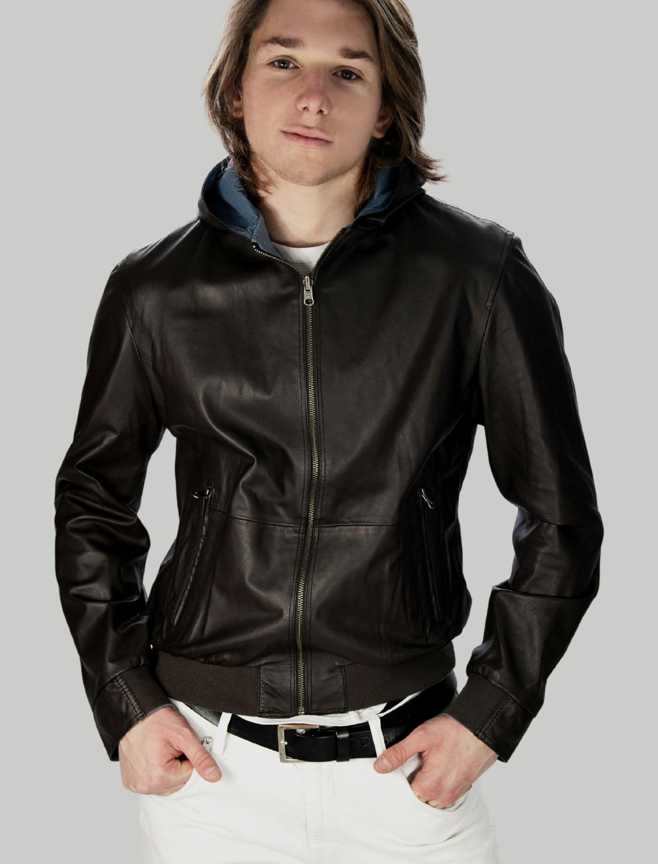 Men's Clothing Dark Brown Reversible Leather Jacket with Hood Minoronzoni | Jackets | MRS215J207013