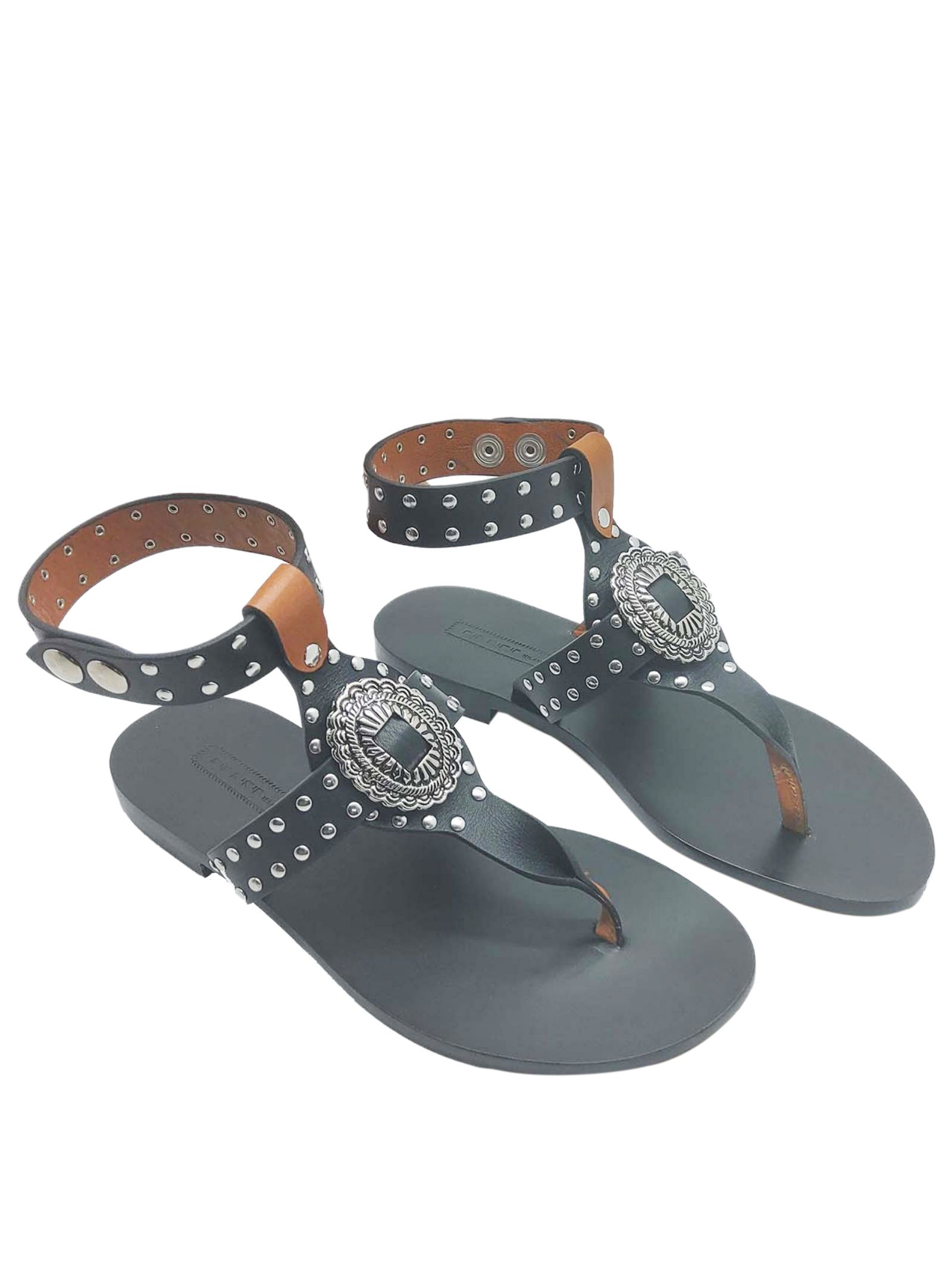 Women's Shoes Flat Sandals in Black Leather with Studs and Strap with Leather Sole Nanni Milano | Flat sandals | NS508001