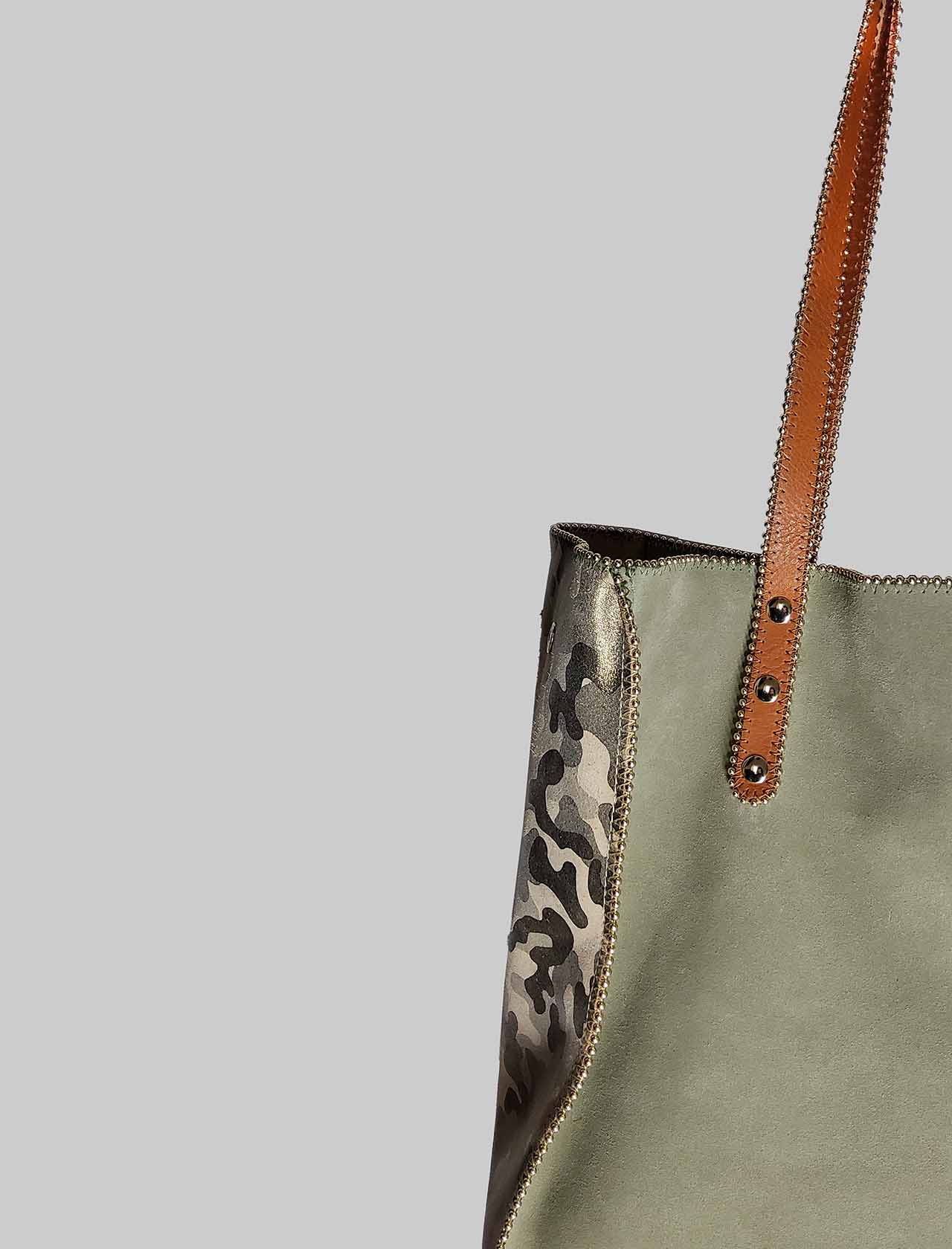 Green Suede Woman Bag with Long Leather Handles Nanni Milano | Bags and backpacks | NKIMPOP006