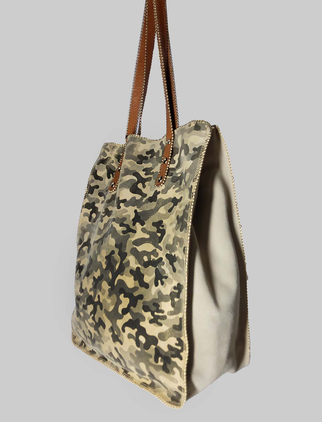 Woman Bag in Military Green Suede with Long Leather Handles Nanni Milano | Bags and backpacks | NKIMPOP023