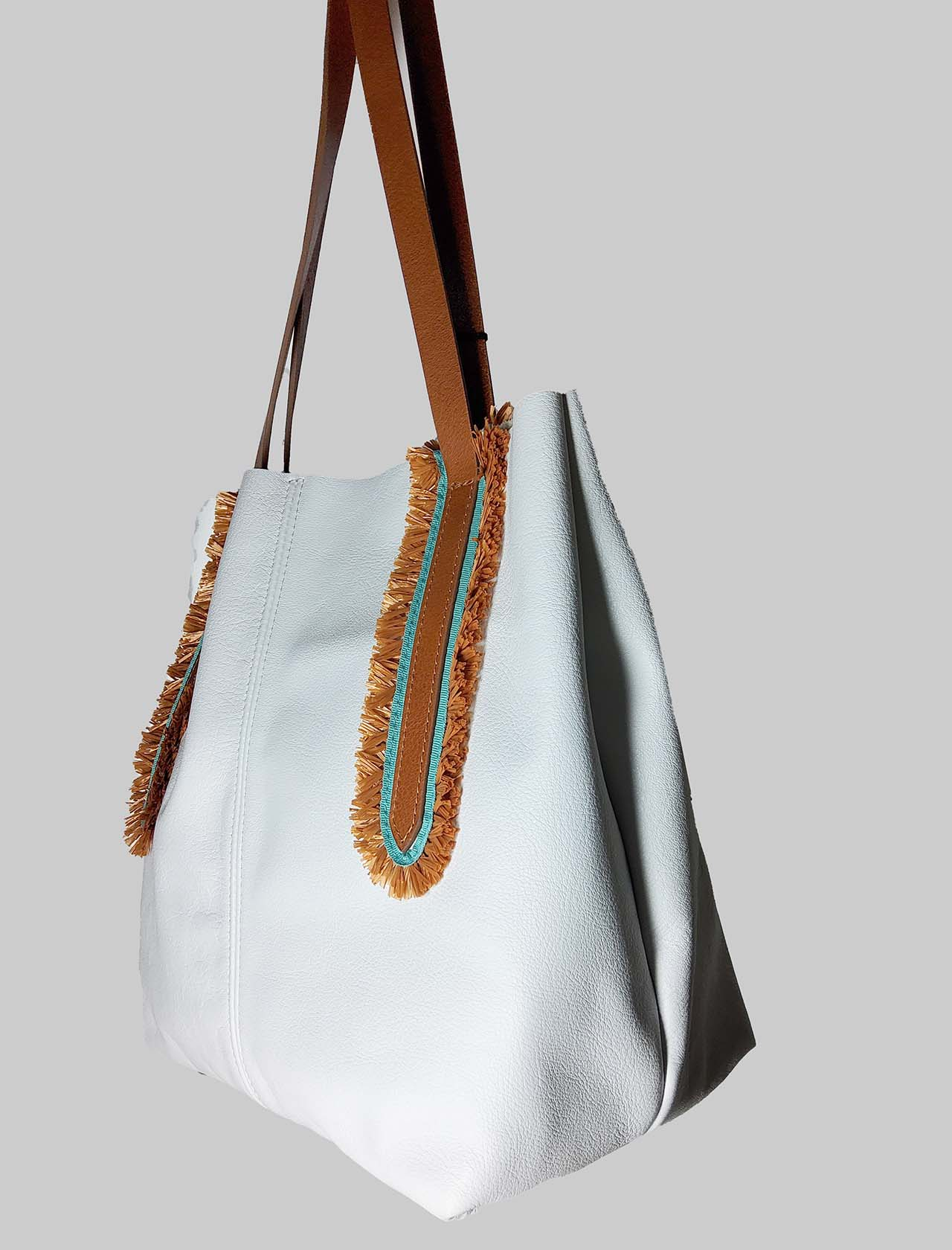 Woman Shoulder Bag in White Leather with Double Handles in Natural Leather Nanni Milano | Bags and backpacks | NMINI25100