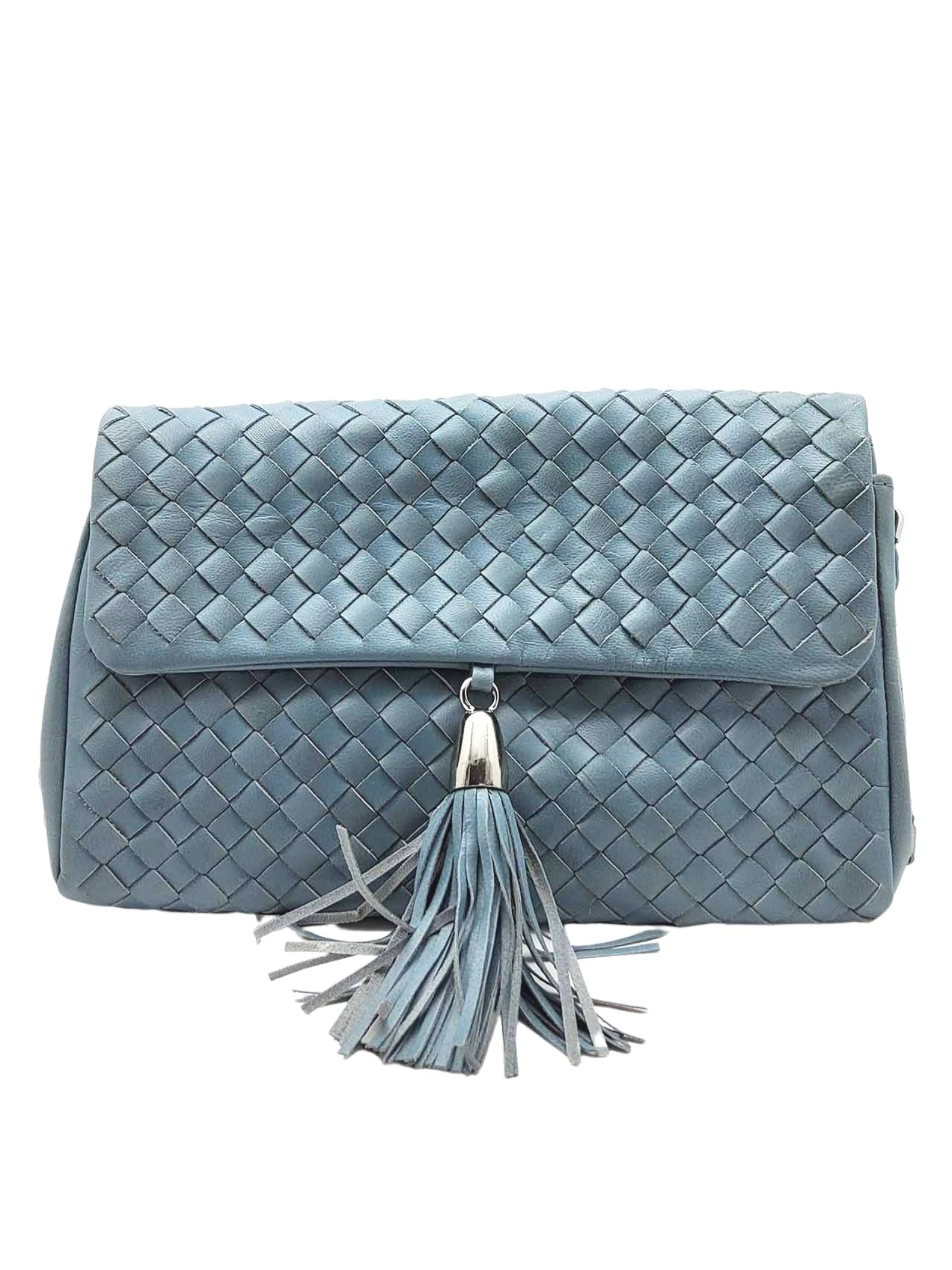Woman Shoulder Bag in Sky Braided Leather with Pendant and Silver Metallic Chain Pons Quintana   Bags and backpacks   V050400