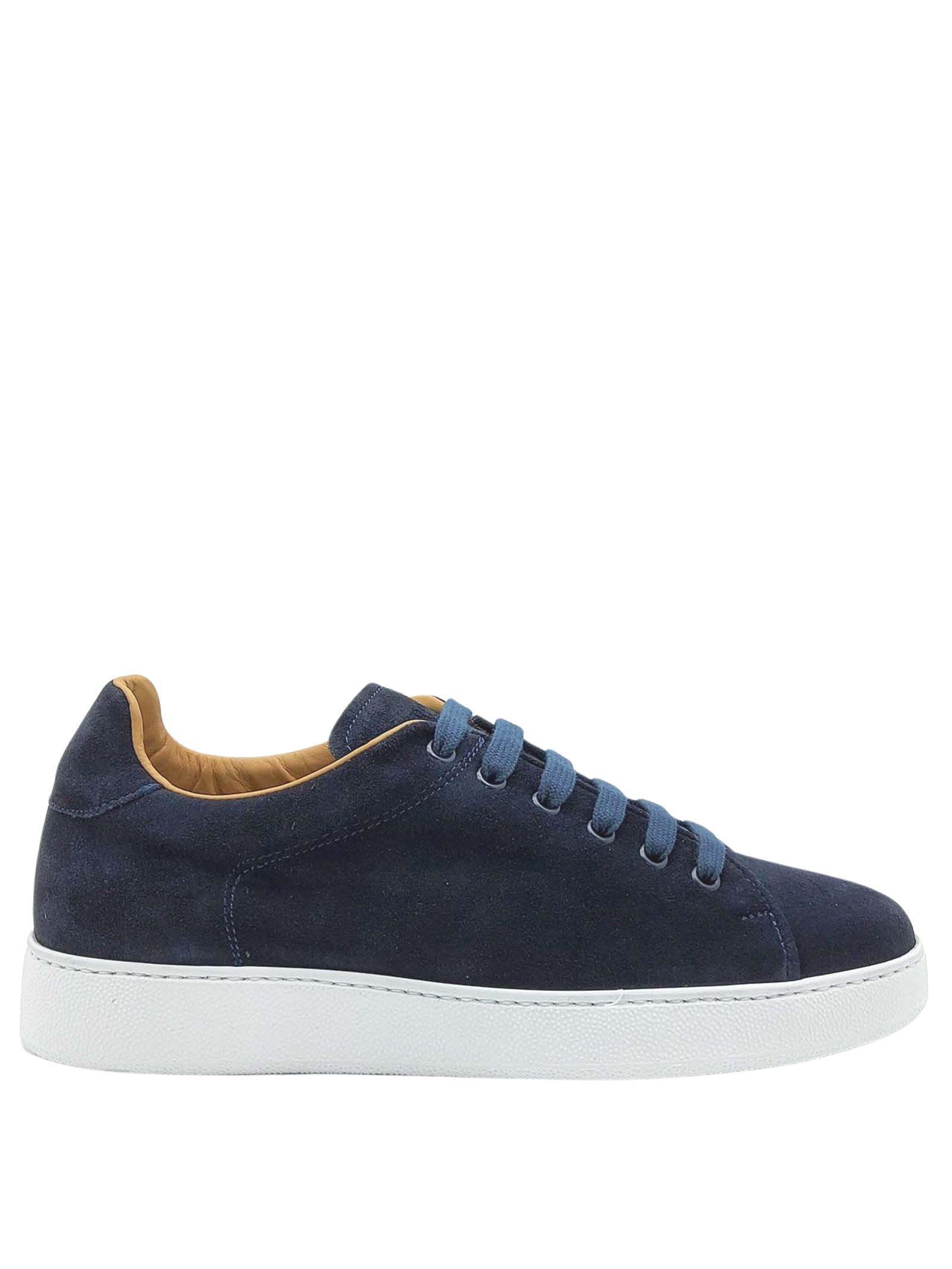 Calzature Uomo Sneakers Stringate in Camoscio Blu Fodera in Pelle e Fondo Gomma Bianco Rogal's | Sneakers | MUR1002