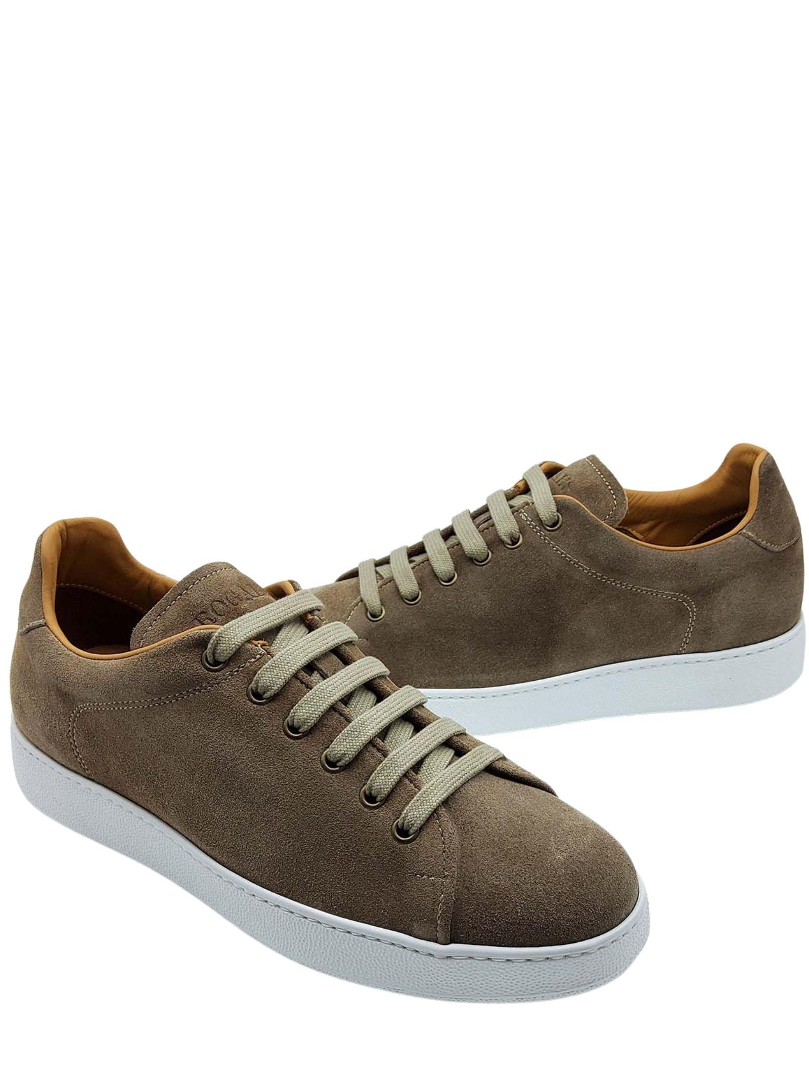 Calzature Uomo Sneakers Stringate in Camoscio Taupe Fodera in Pelle e Fondo Gomma Bianco Rogal's | Sneakers | MUR1023