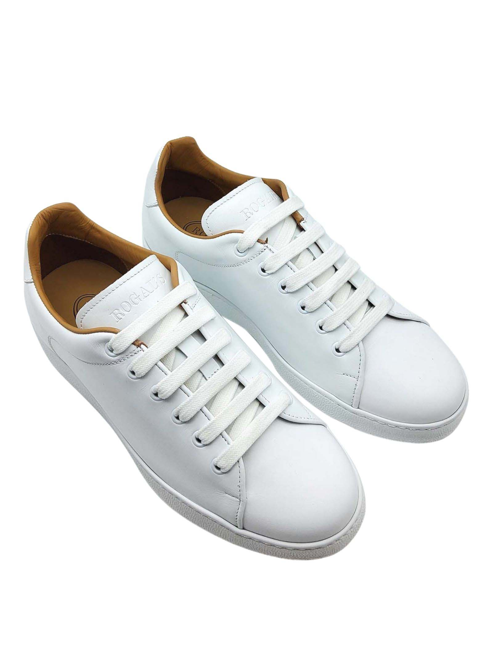 Calzature Uomo Sneakers Stringate in Pelle Bianca e Fodera in Pelle Rogal's | Sneakers | MUR1100