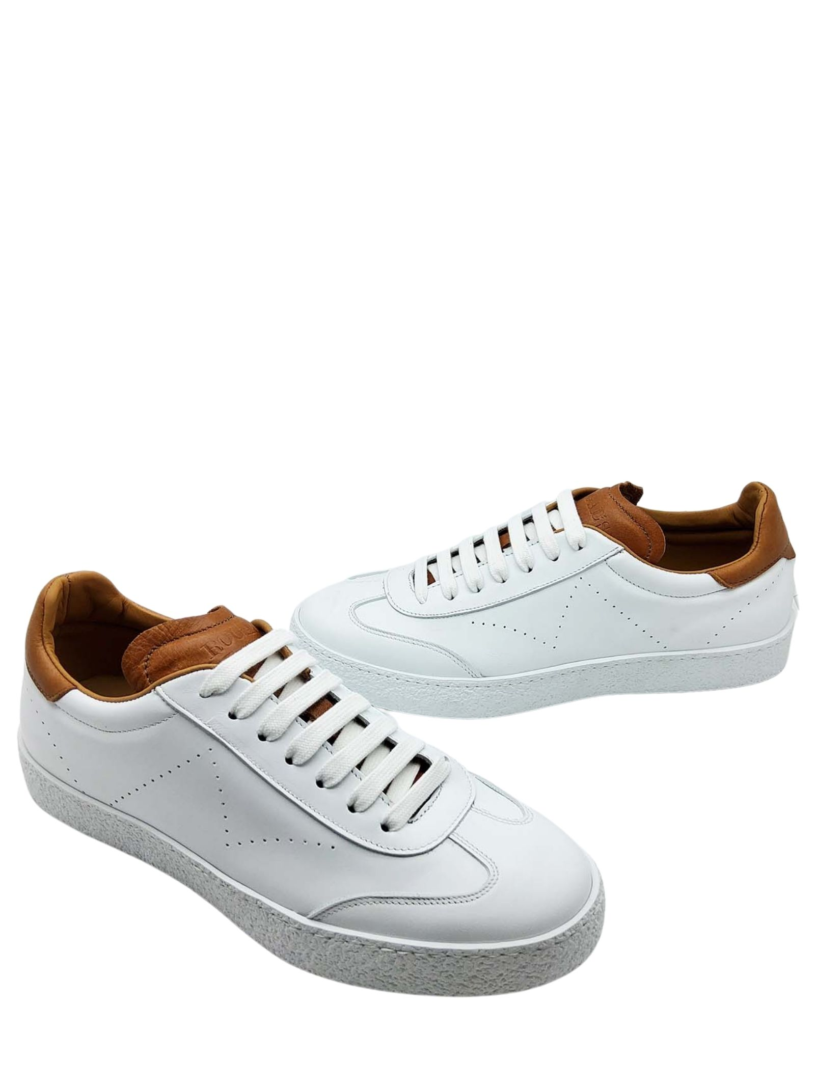 Calzature Uomo Sneakers in Pelle Bianca con Riporti in Pelle Cuoio e Fodera in Pelle Rogal's | Sneakers | PAND3100