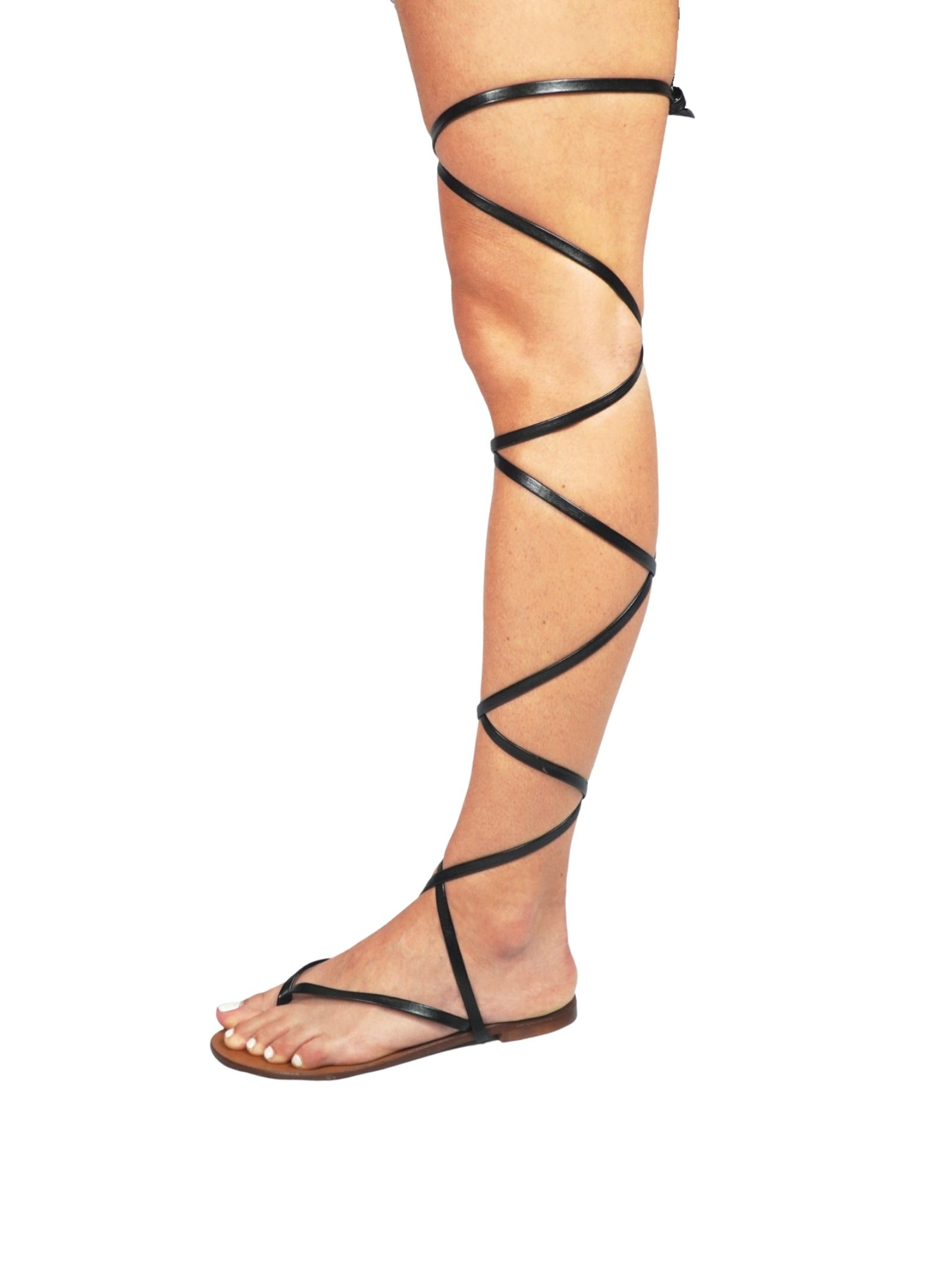 Women's Shoes Flat Flip Flops Sandals in Black Eco Leather with Long Laces up to the Knee Sandro Rosi | Flat sandals | 3295001