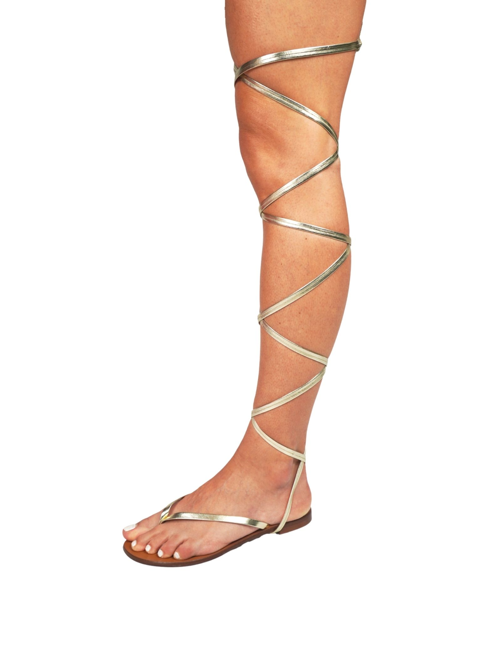 Women's Shoes Flat Flip Flops Sandals in Platinum Eco Leather with Long Laces up to the Knee Sandro Rosi | Flat sandals | 3295600