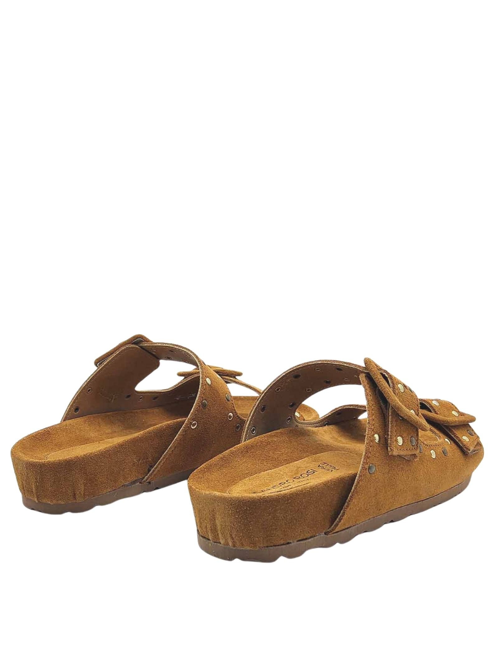 Sadali Birkenstock Women's Shoes in Leather Suede with Gold Studs and Rubber Sole Sandro Rosi | Flat sandals | 3335014