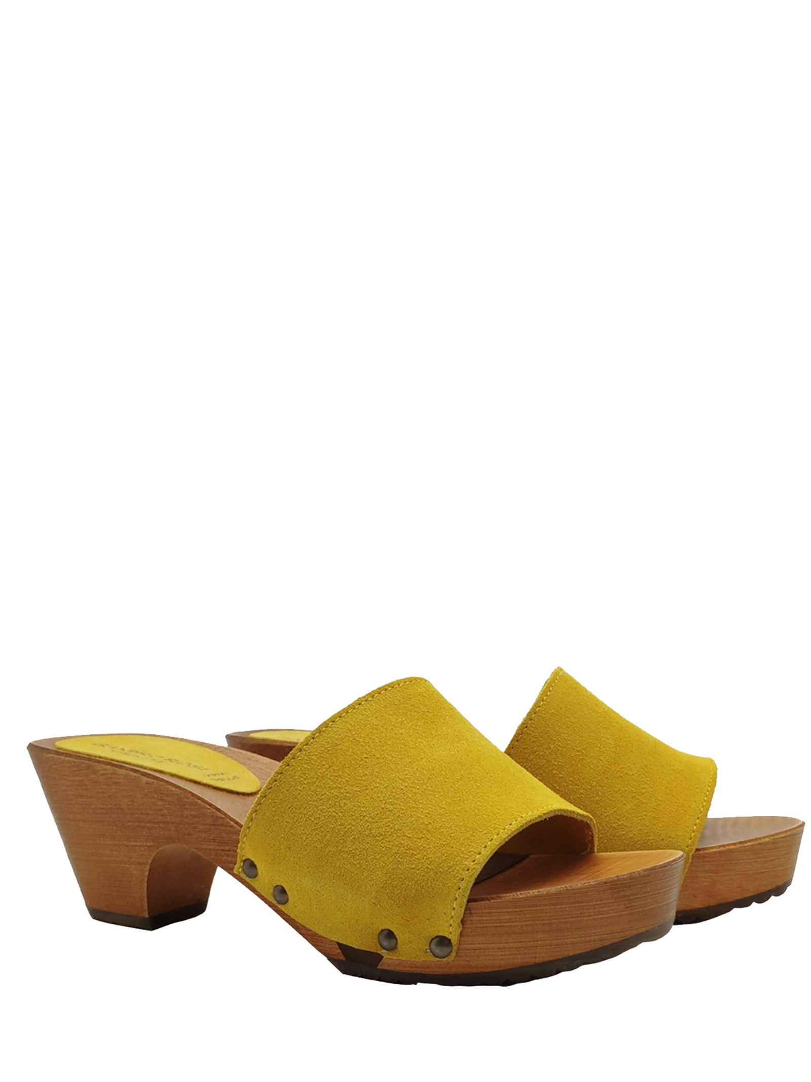 Women's Shoes Sandals Clogs in Mustard Suede with Nailed Upper and Wooden Wedge Sandro Rosi   Sandals   7056008
