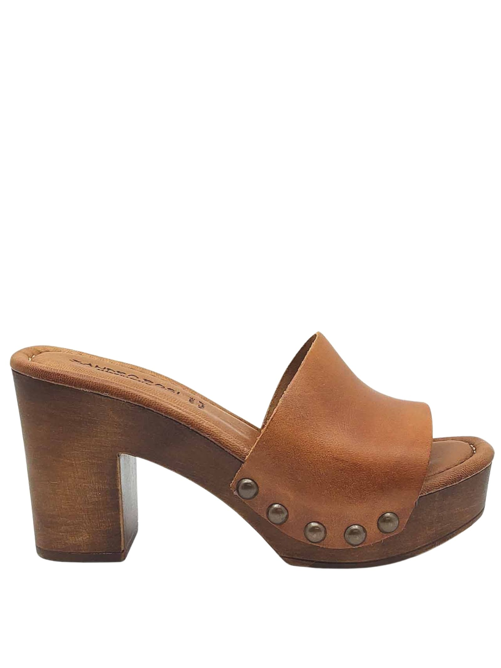 Women's Shoes Leather Sandals with Wooden Wedge Sandro Rosi | Wedge Sandals | 7065014