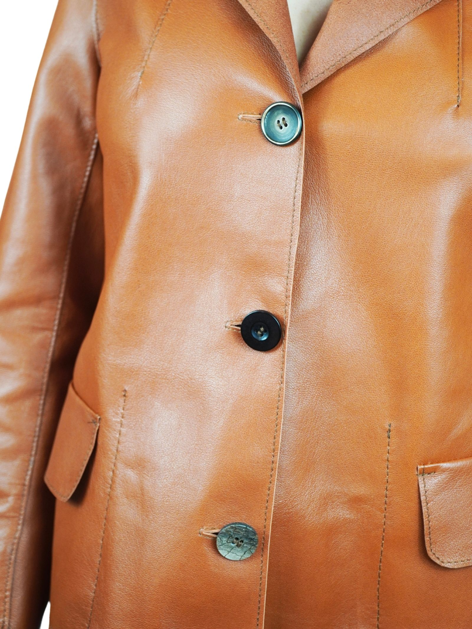 Women's Clothing Unlined Leather Jacket with Vintage Buttons Spatarella | Jackets | 1527014