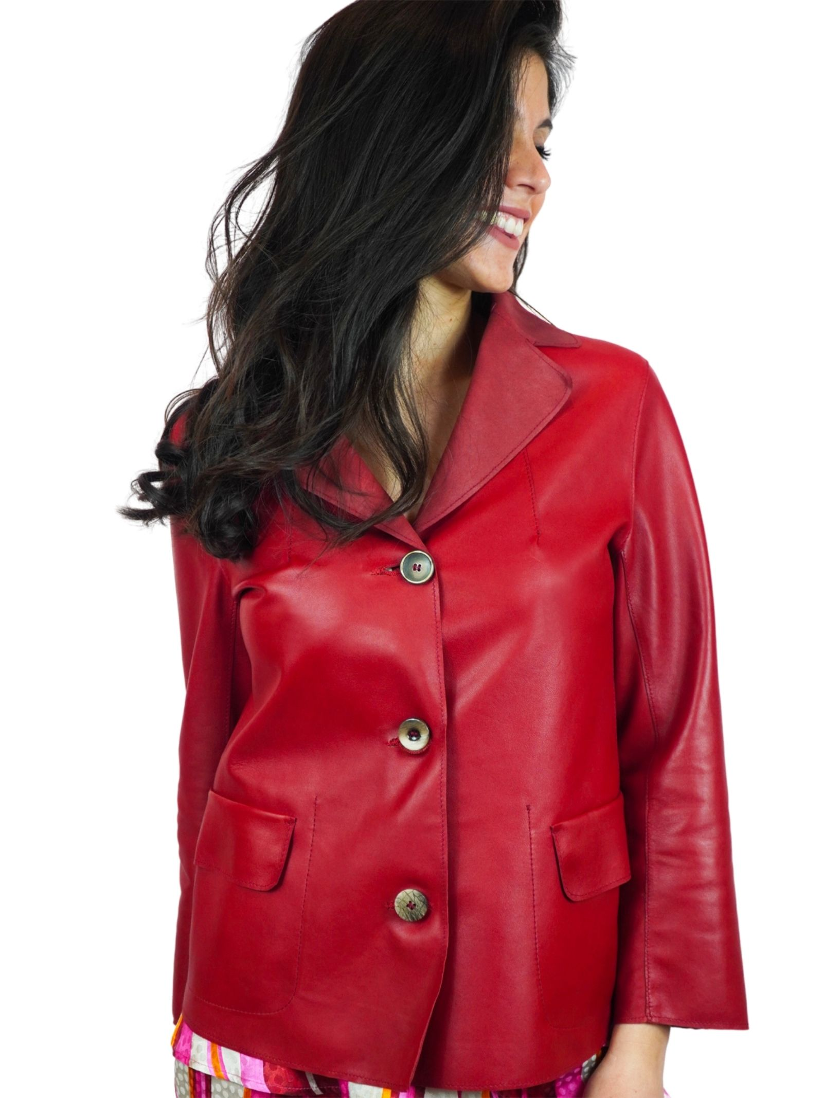 Women's Clothing Unlined Red Leather Jacket with Vintage Buttons Spatarella |  | 1527017