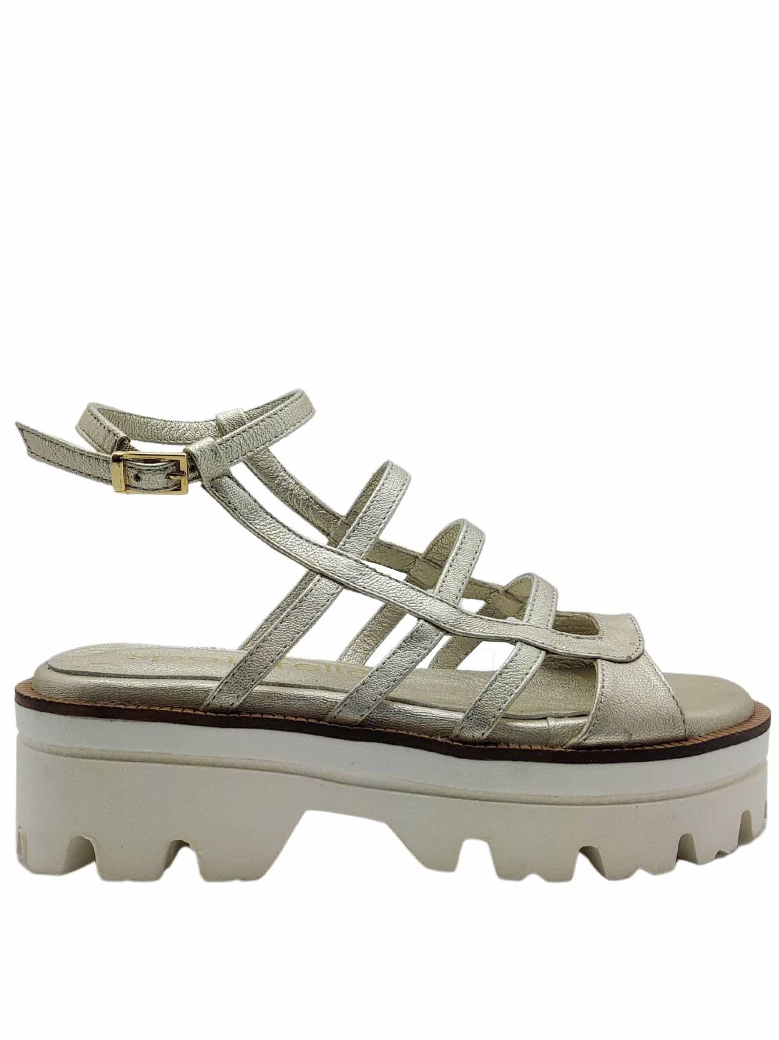 Women's Shoes Platinum Laminated Leather Sandals with Ankle Strap and Carrarmato Bottom Spatarella | Wedge Sandals | 18BIS600