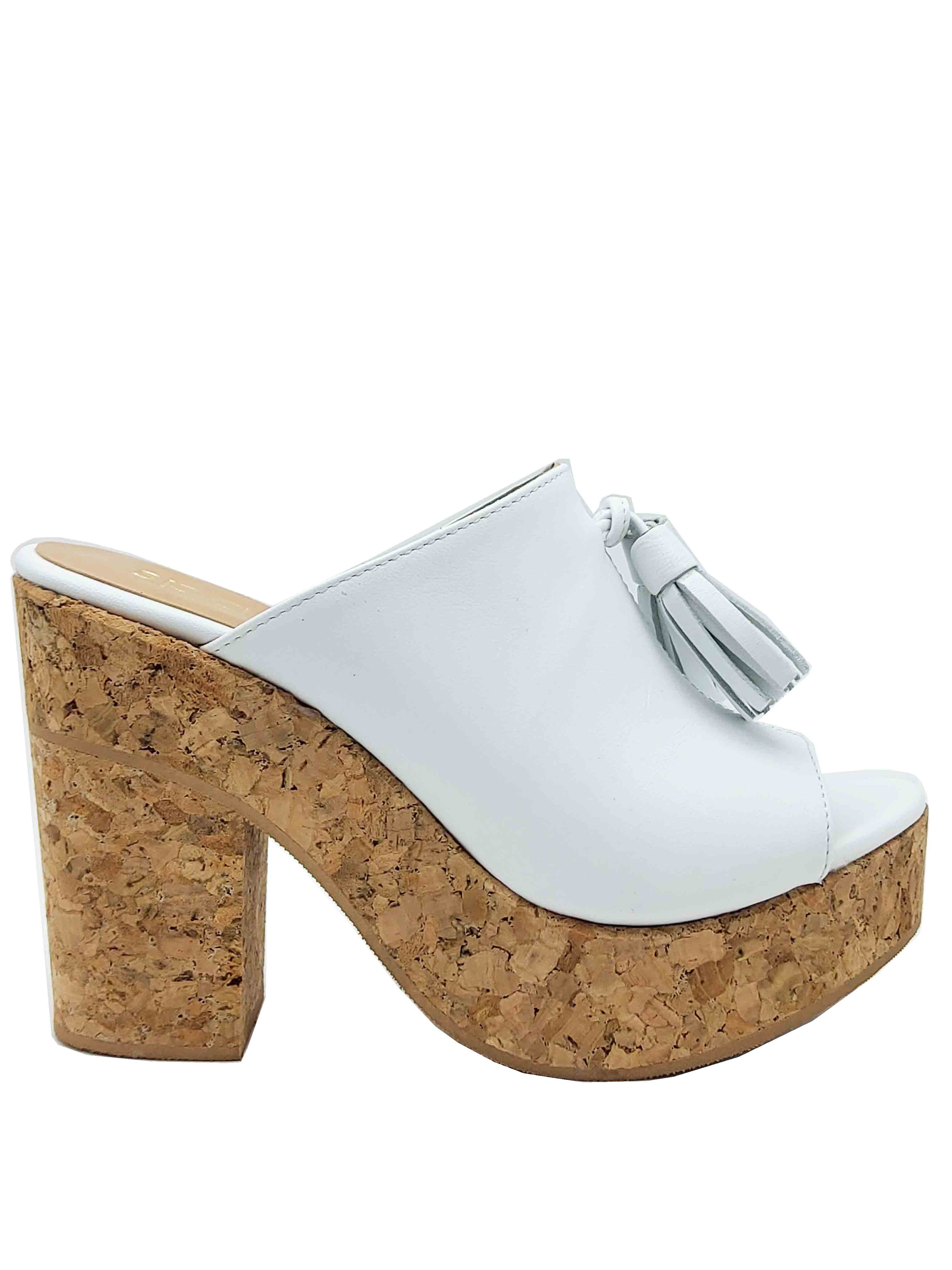 Women's Shoes White Leather Sandals with Bows and High Cork Wedge Spatarella | Sandals | 2075100