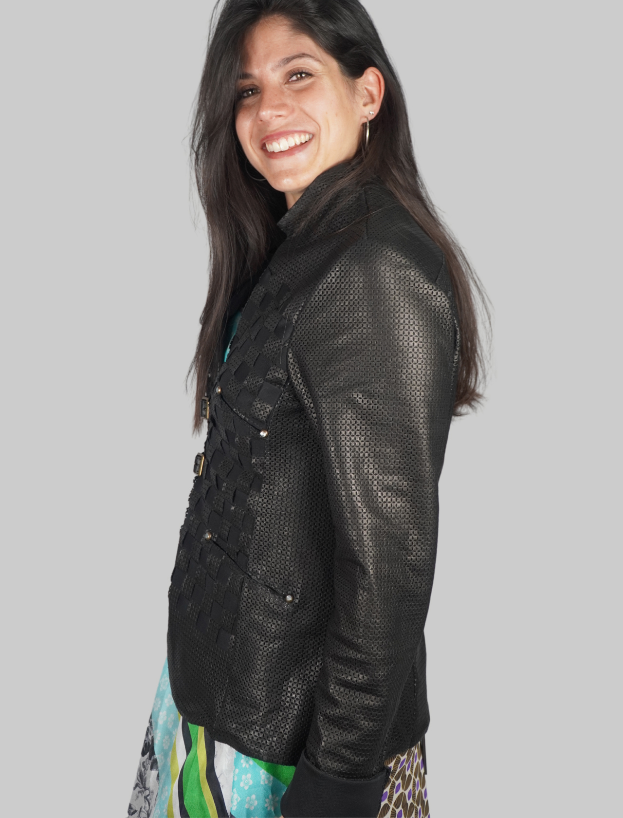 Women's Clothing Mud Perforated Leather Jacket with Straps and Buckles Spatarella   Jackets   2152001