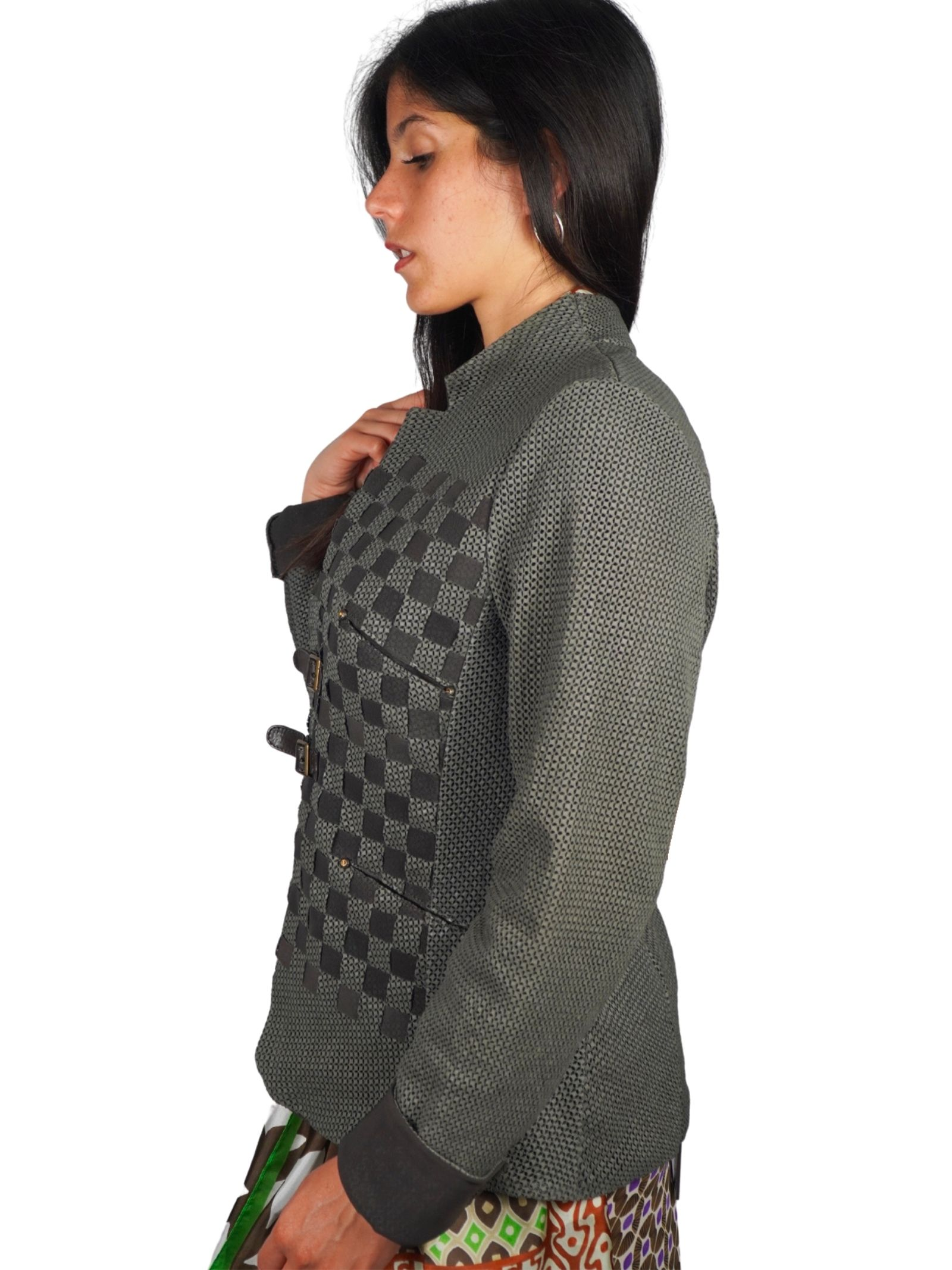 Women's Clothing Mud Perforated Leather Jacket with Straps and Buckles Spatarella | Jackets | 2152021