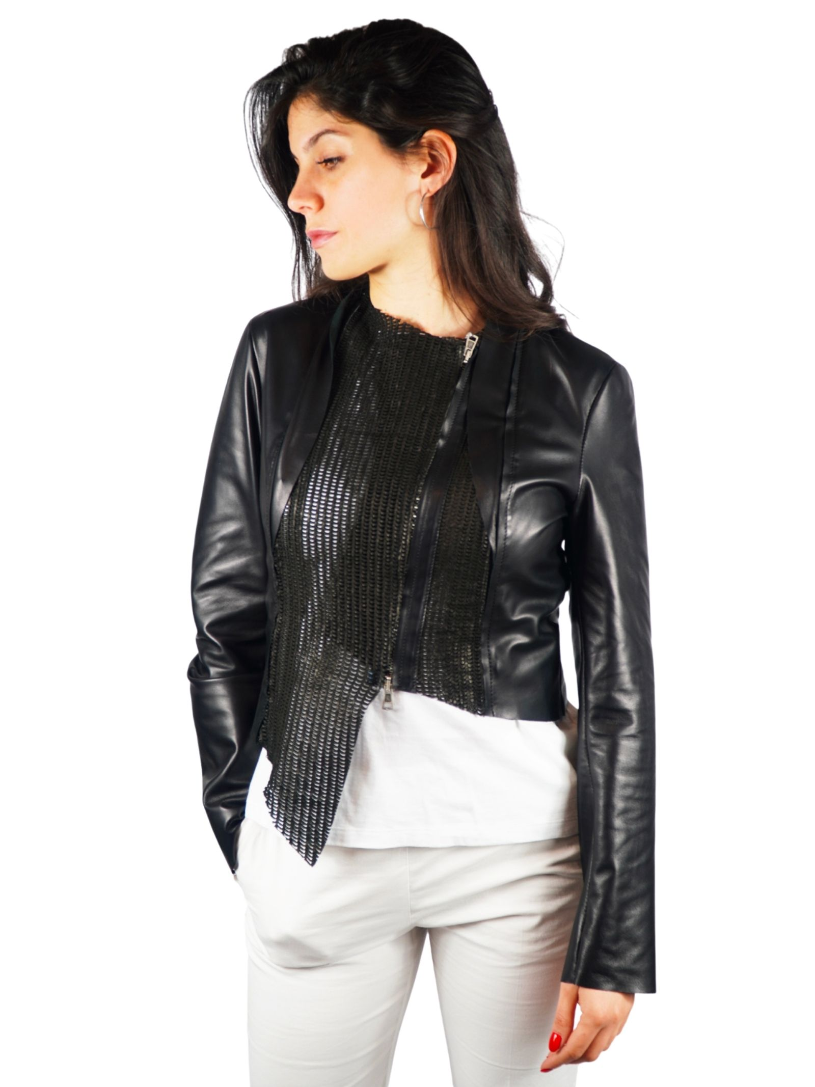 Women's Clothing Bolerino Jacket in Black Leather with Tone Leather Insert on the Front Spatarella |  | 2154001