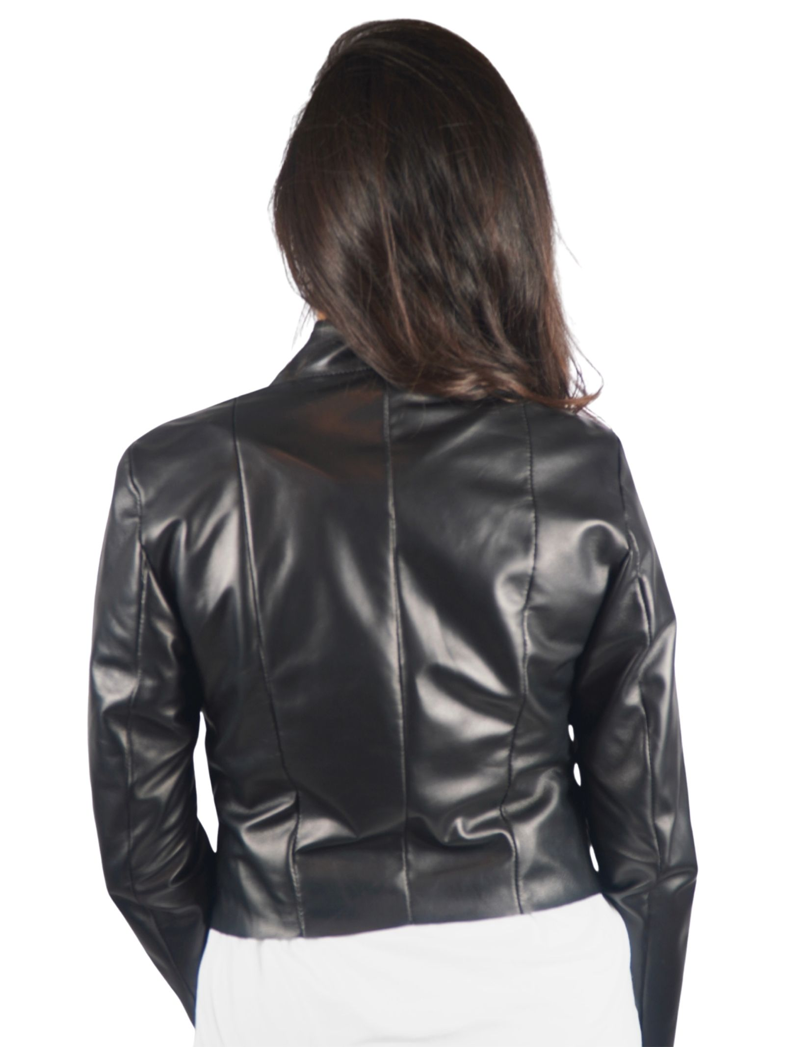 Women's Clothing Bolerino Jacket in Black Leather with Tone Leather Insert on the Front Spatarella | Jackets | 2154001