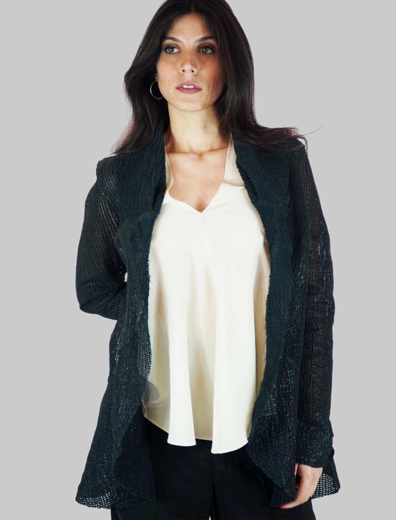 Abbigliamento Donna Giacca in Pelle Blu Forata Senza Bottoni e Manica Lunga Spatarella | Giacche e giubbini | 2156002