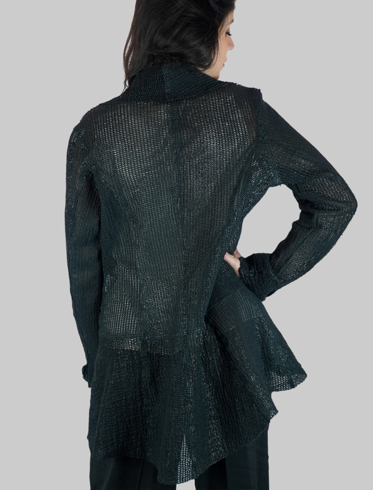 Women's Clothing Blue Perforated Leather Jacket Without Buttons and Long Sleeve Spatarella |  | 2156002