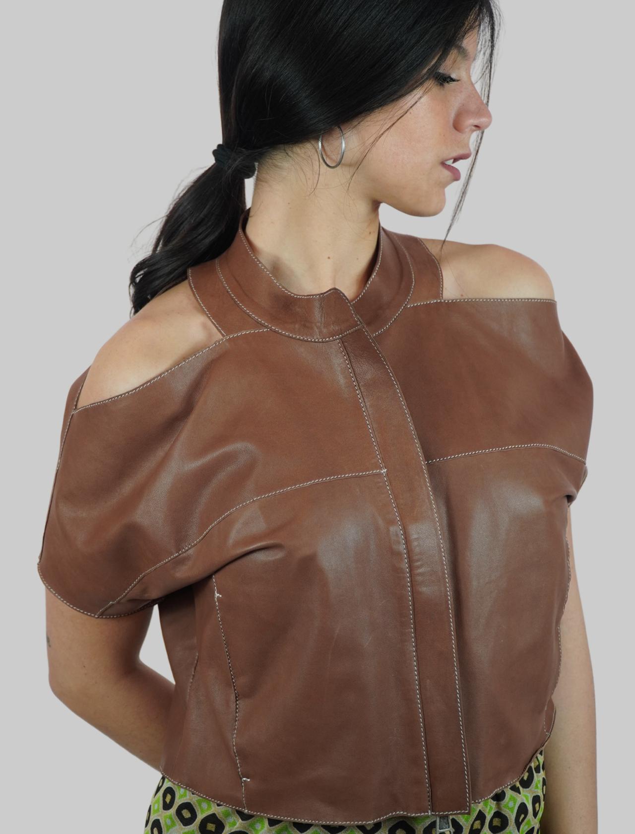 Abbigliamento Donna Giubbino in Pelle Cuoio Corto a Mezza Manica Spatarella | Giacche e giubbini | 2158014