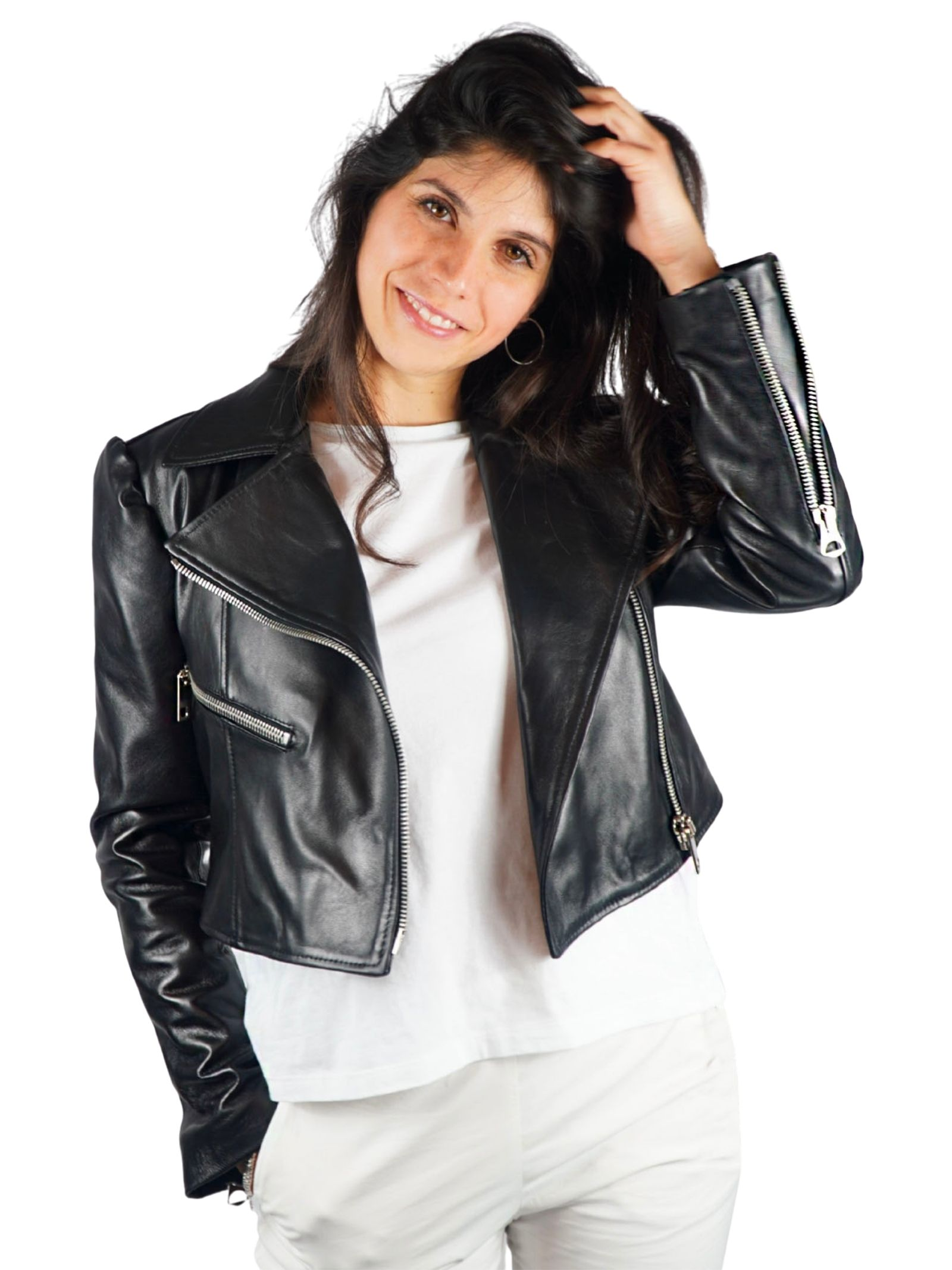 Women's Clothing Chiodo in Black Short Leather with Zip Spatarella |  | 2160001
