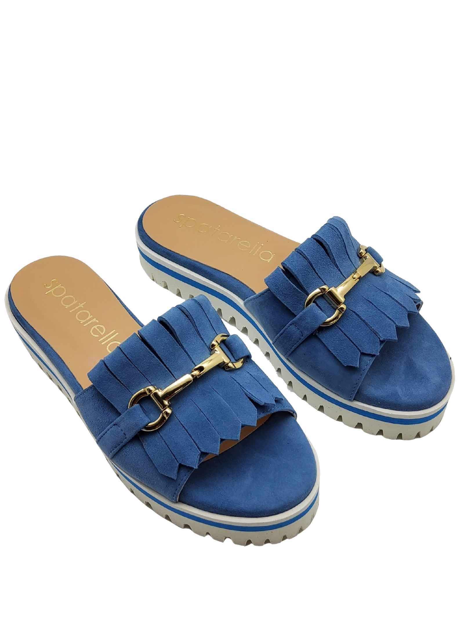 Women's Shoes Sandals in Light Blue Suede with Fringes and Gold Clamp Low Wedge Wedge Spatarella | Sandals | 3550003