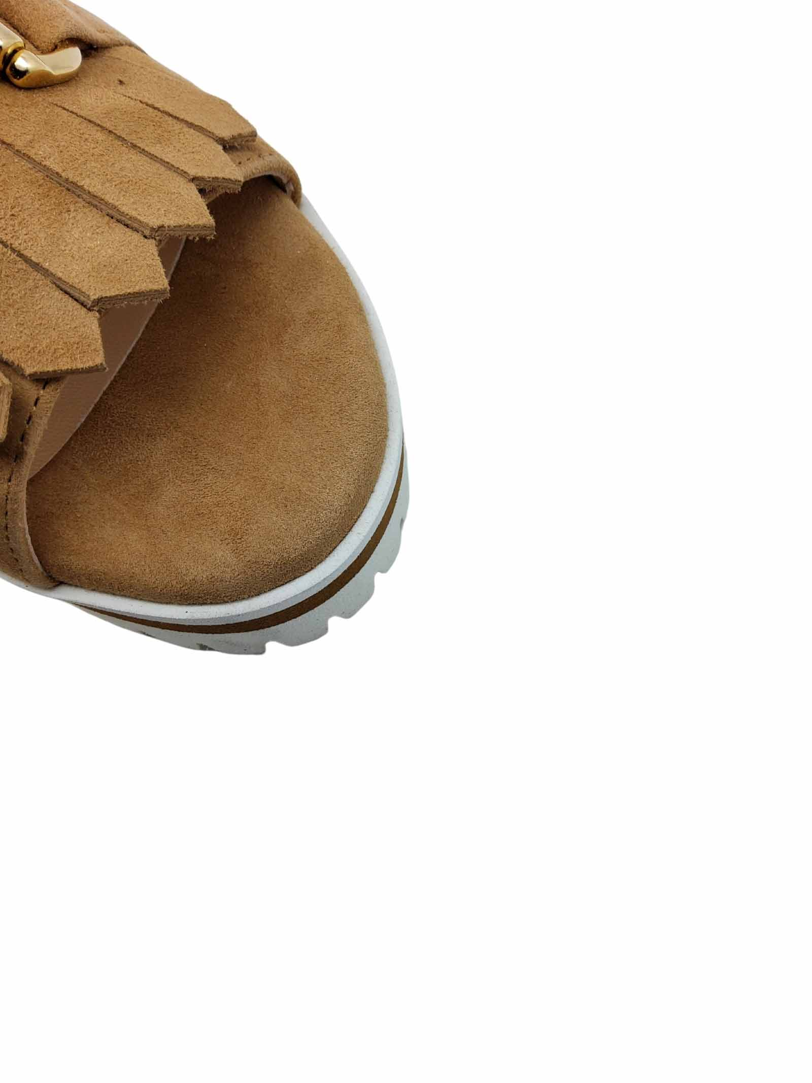 Women's Shoes Sandals in Leather Suede with Fringes and Gold Clamp Low Wedge Wedge Spatarella | Sandals | 3550014