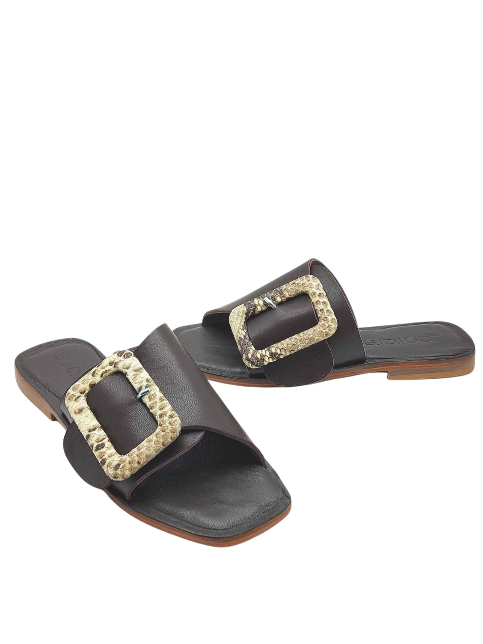 Women's Shoes Flat Sandals in Brown Cross Leather with Buckle Covered in Natural Python Spatarella | Flat sandals | DI15013