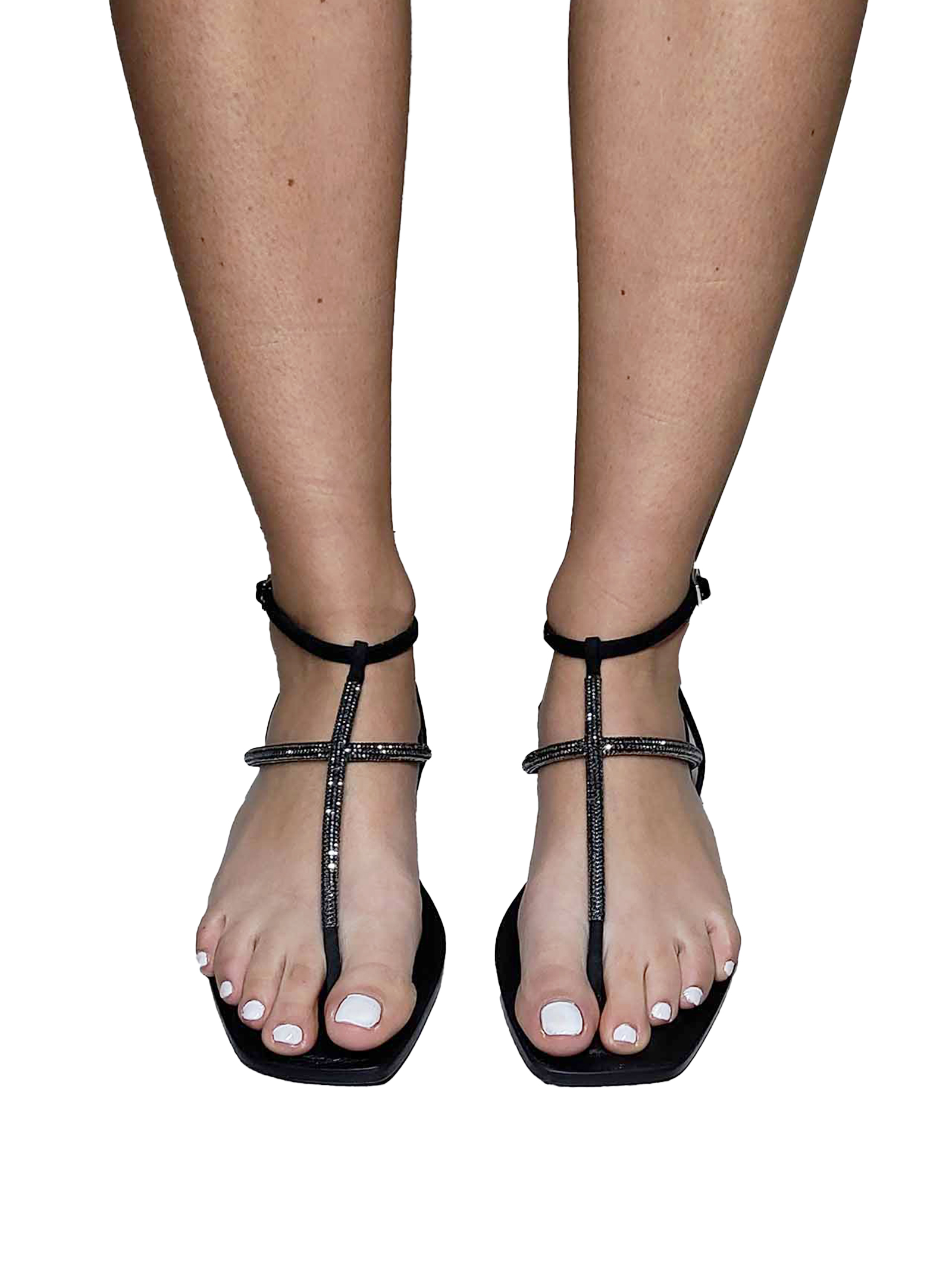 Women's Shoes Thong Sandals In Black Suede And Tone-on-Tone Rhinestones And Back Strap Spatarella | Flat sandals | DI81001