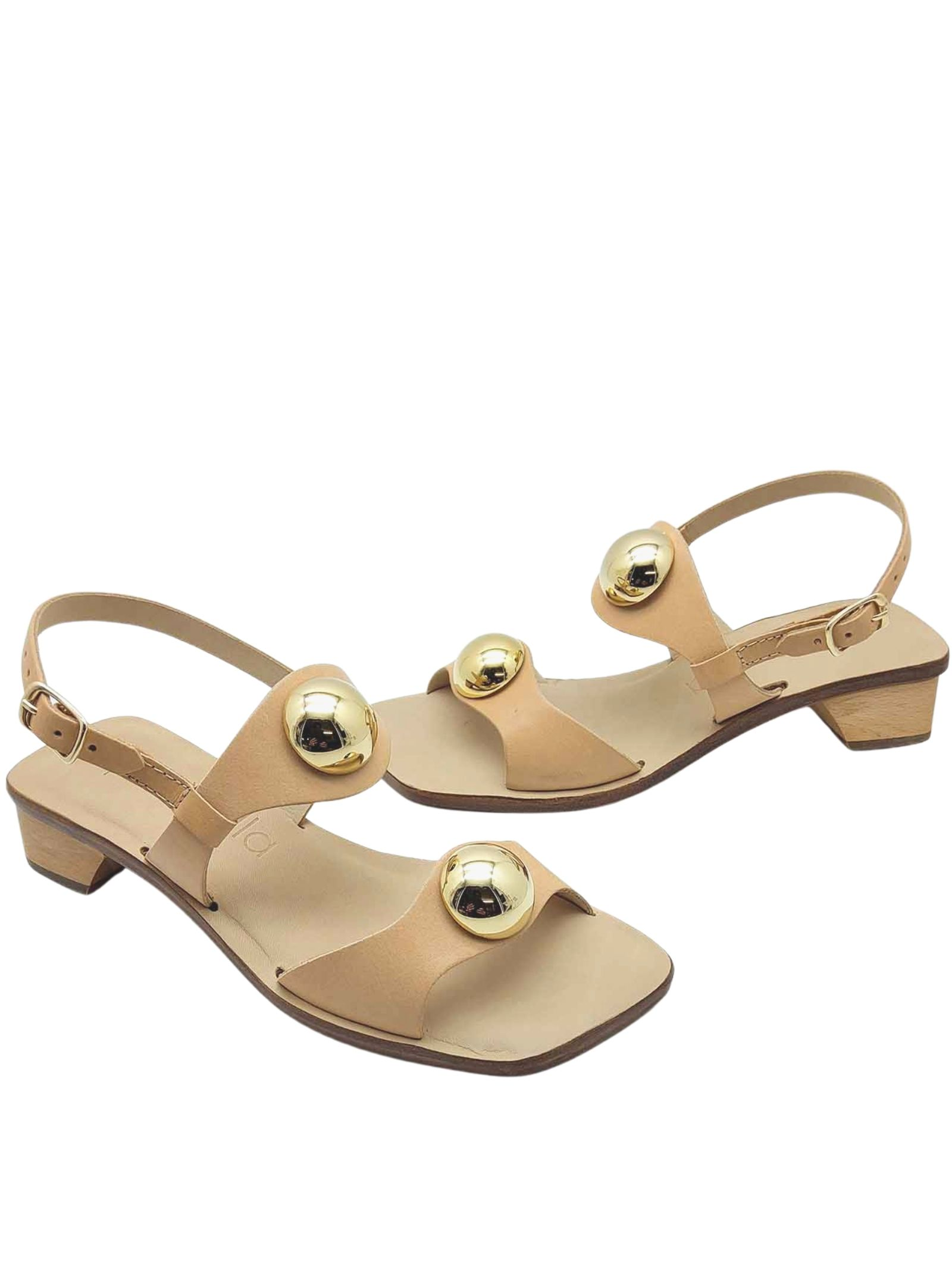 Women's Shoes Heeled Sandals in Nude Leather Double Band With Gold Studs And Back Strap Spatarella   Sandals   DL10300