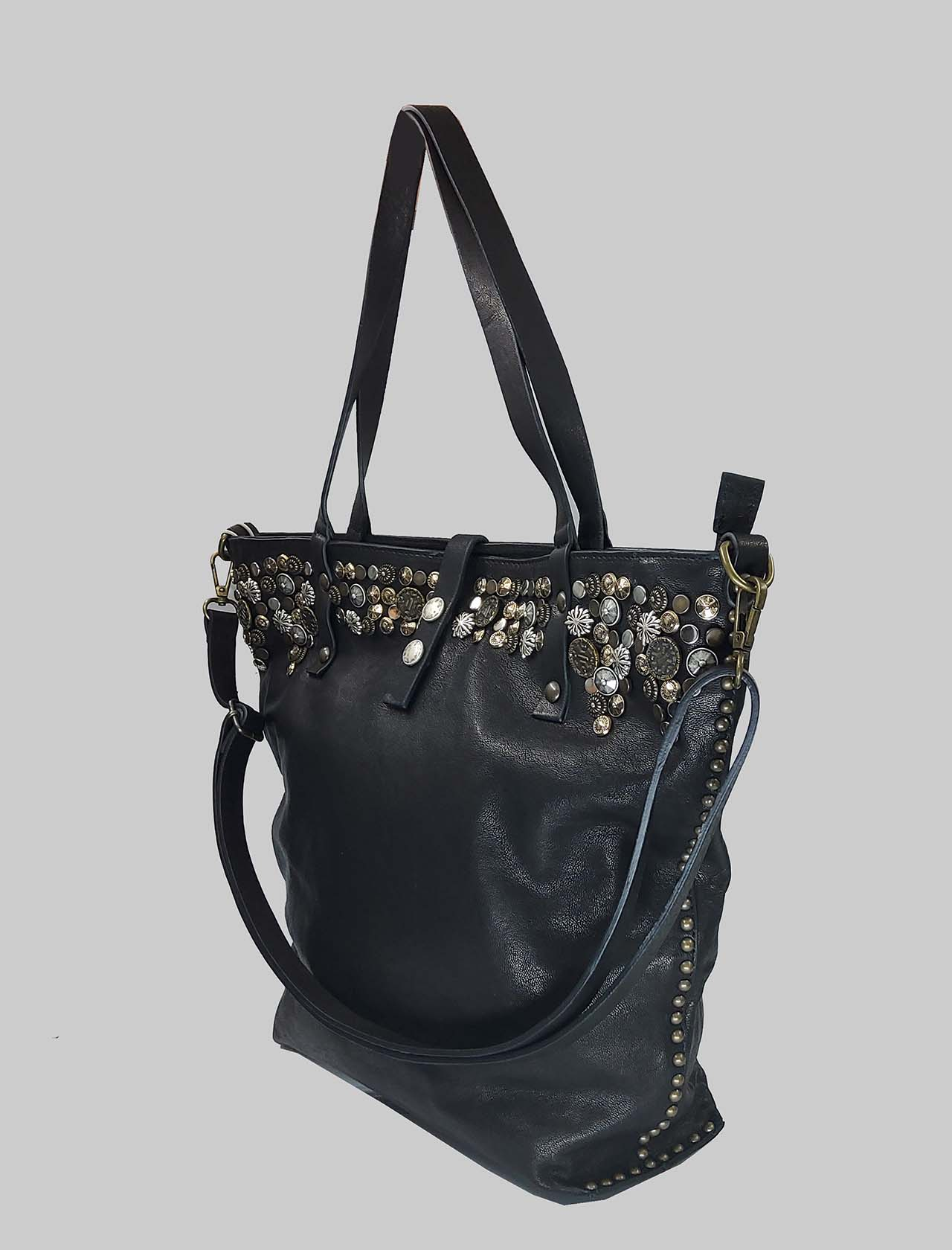 Woman Shopping Bag in Black Leather with Studs and Adjustable Leather Shoulder Strap Spatarella | Bags and backpacks | INES001