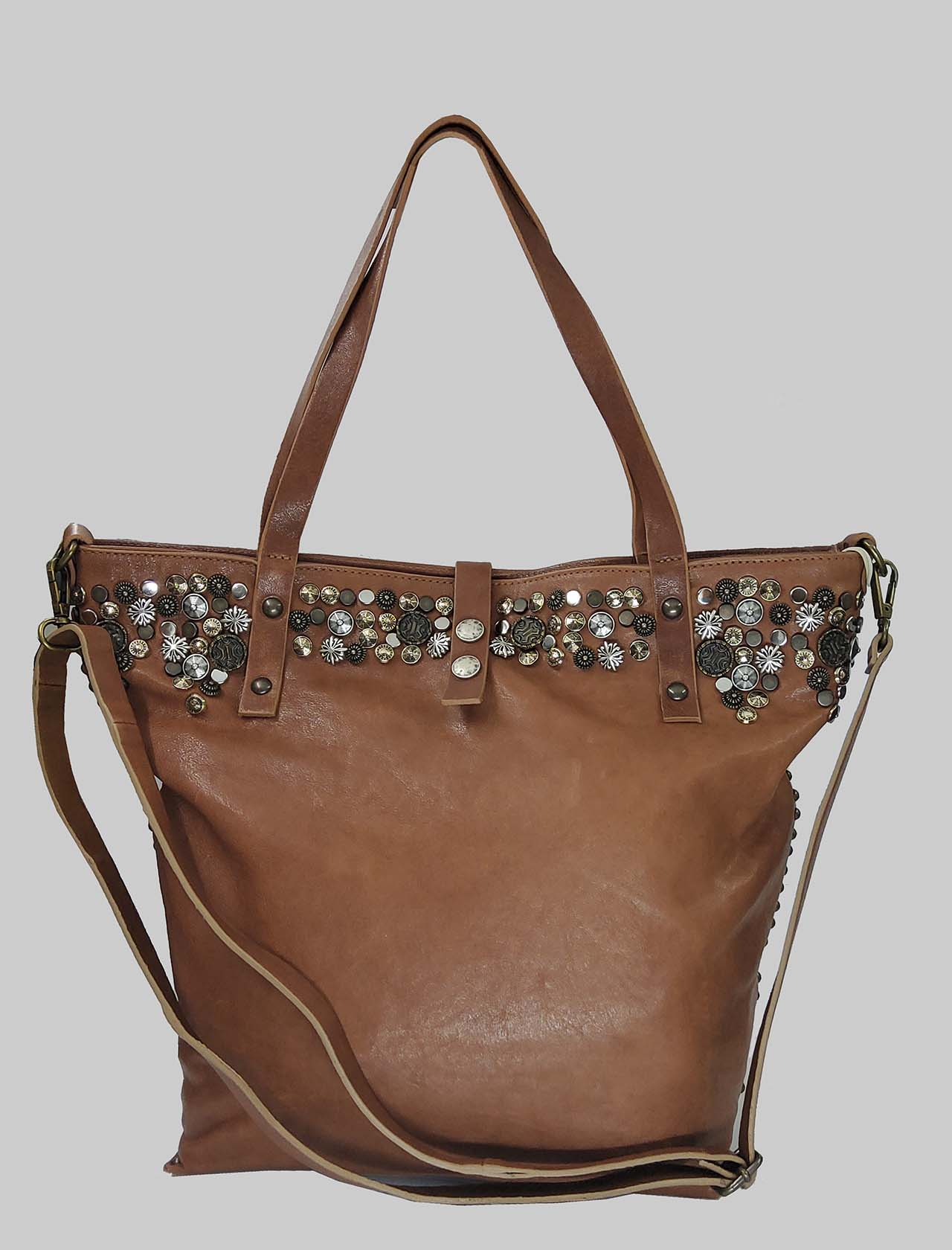Woman Shopping Bag in Dark Brown Leather with Studs and Adjustable Leather Shoulder Strap Spatarella | Bags and backpacks | INES014