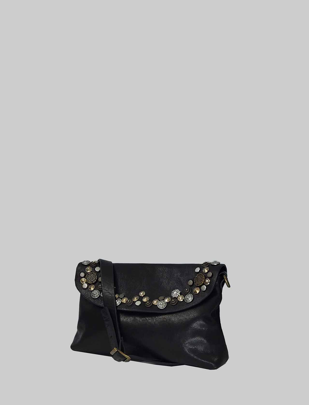 Women's Bag Small Clutch Bag in Black Leather with Studs and Adjustable Leather Shoulder Strap Spatarella | Bags and backpacks | LOLA001