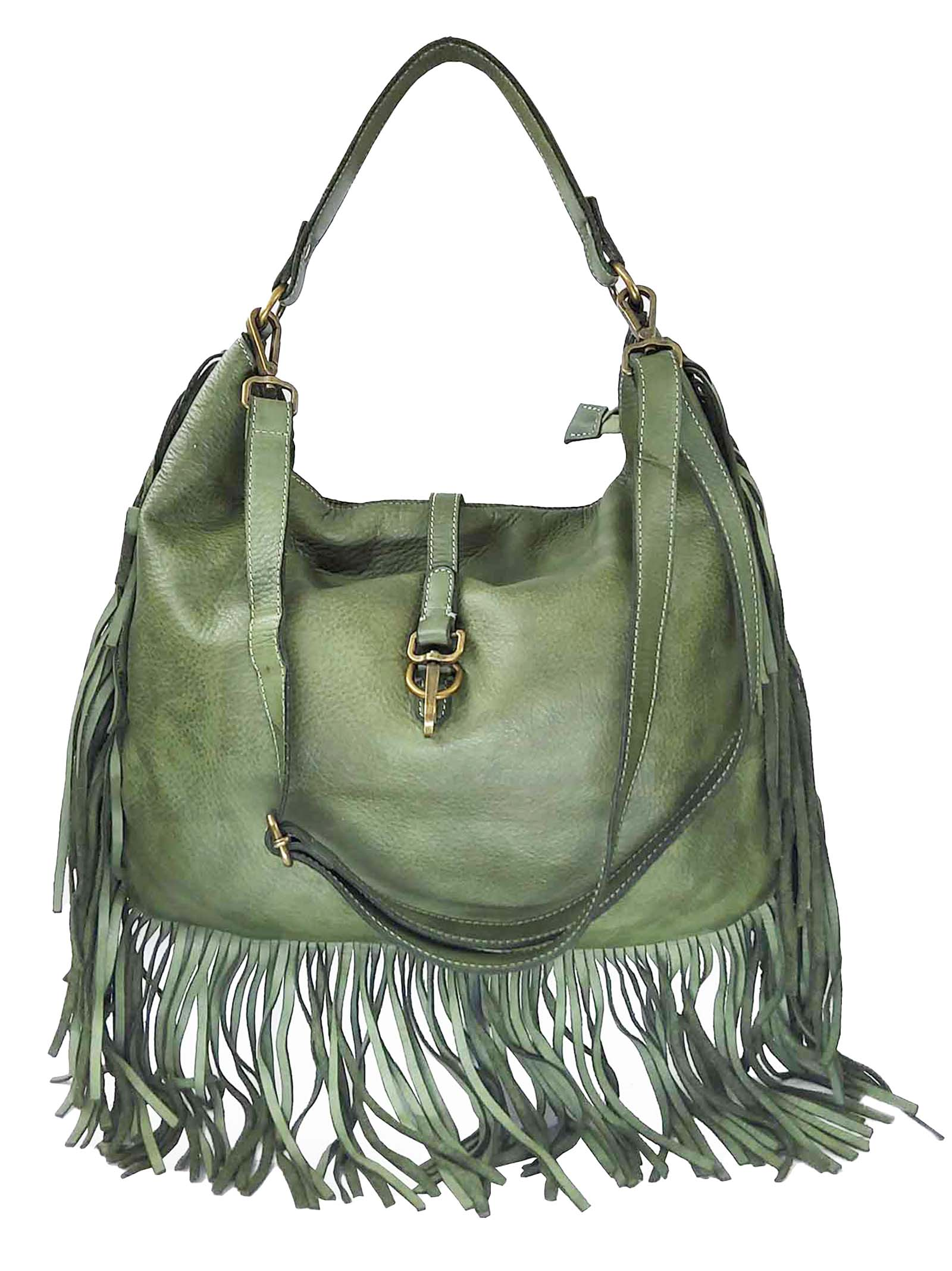 Women's Green Leather Shoulder Shopping Bags with Fringes and Removable Shoulder Strap Spatarella | Bags and backpacks | PE0207005