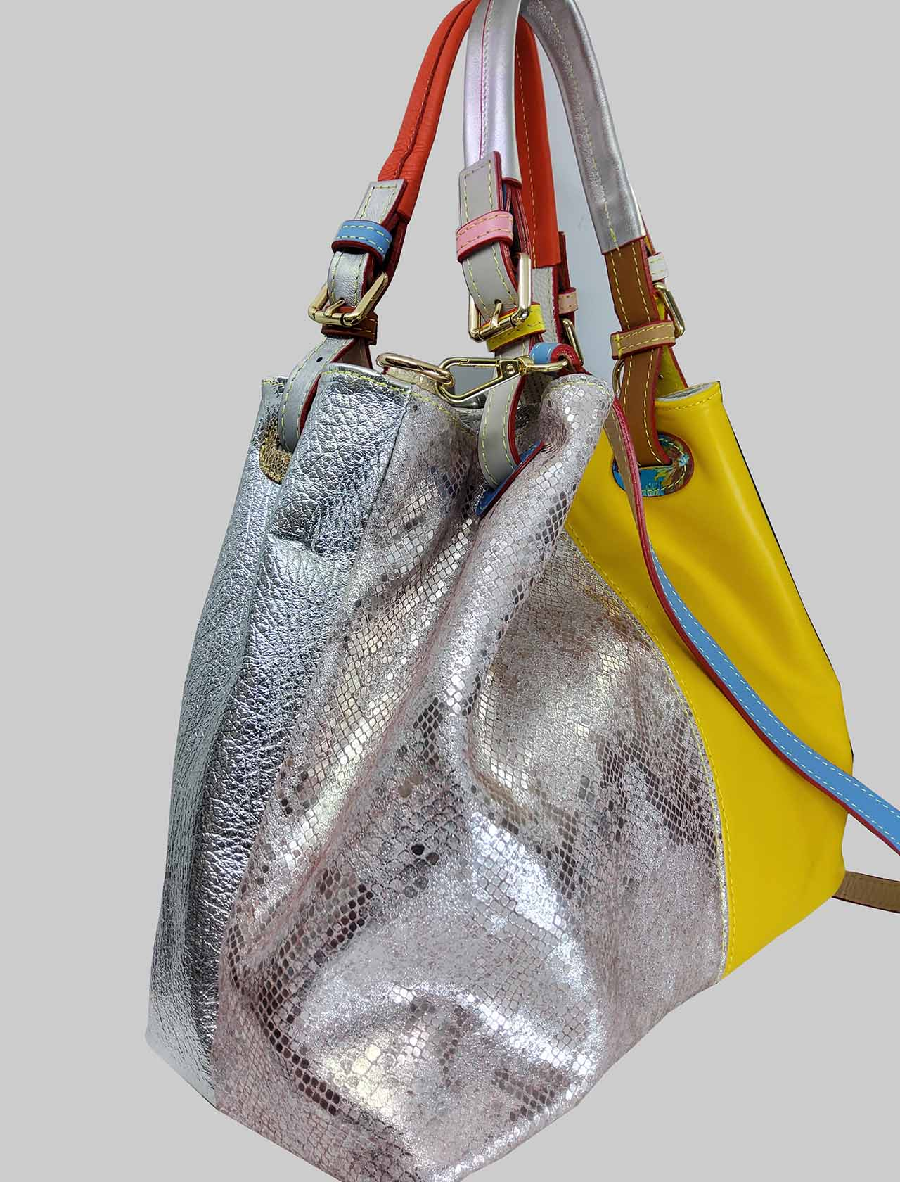 Woman Shoulder Bags Multicolored Patch with Double Handles and Double Removable Shoulder Strap Spatarella | Bags and backpacks | PE0210MULTI 2