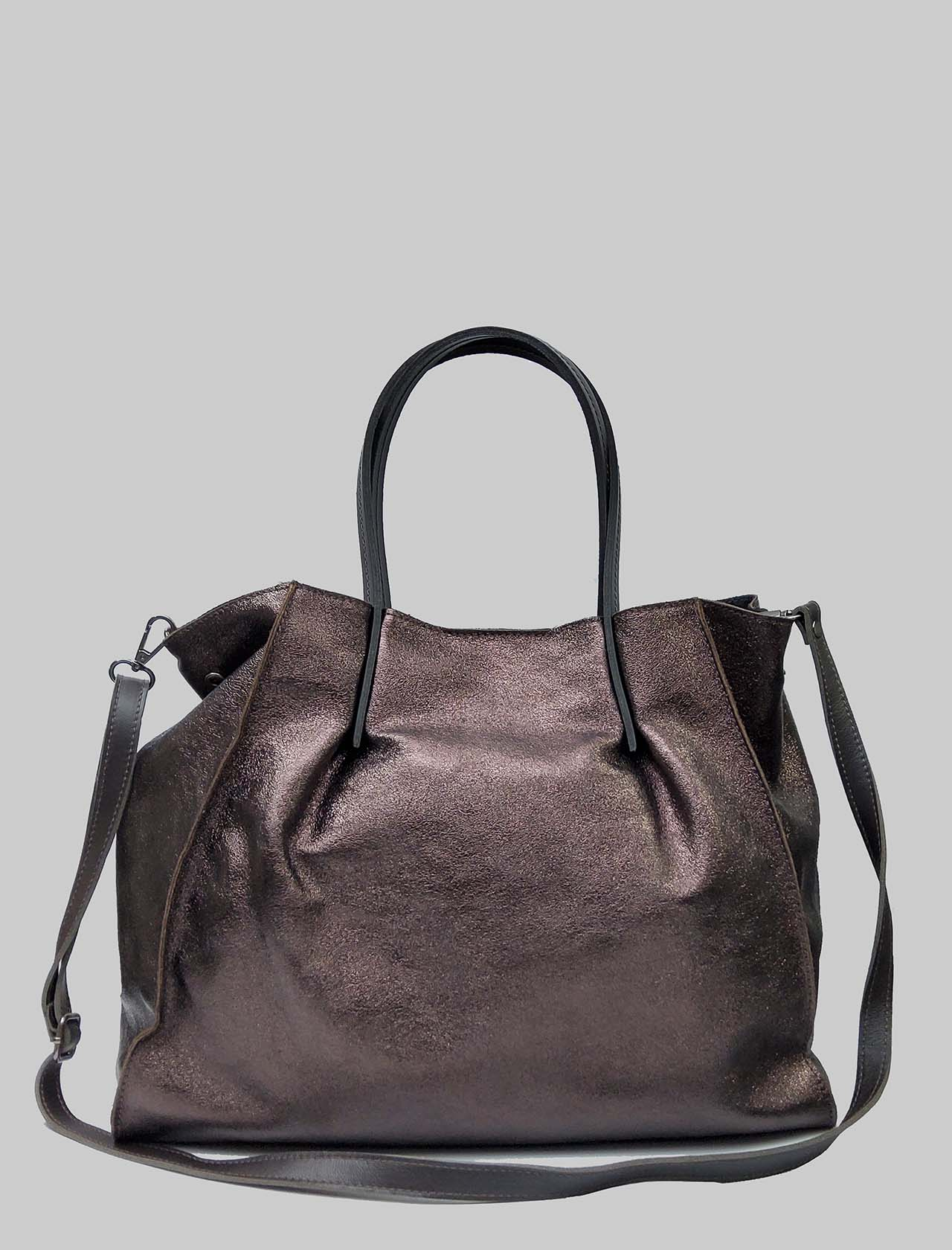 Woman Bags in Bronze Laminated Leather with Double Handles and Removable Shoulder Strap Spatarella | Bags and backpacks | PE0212601