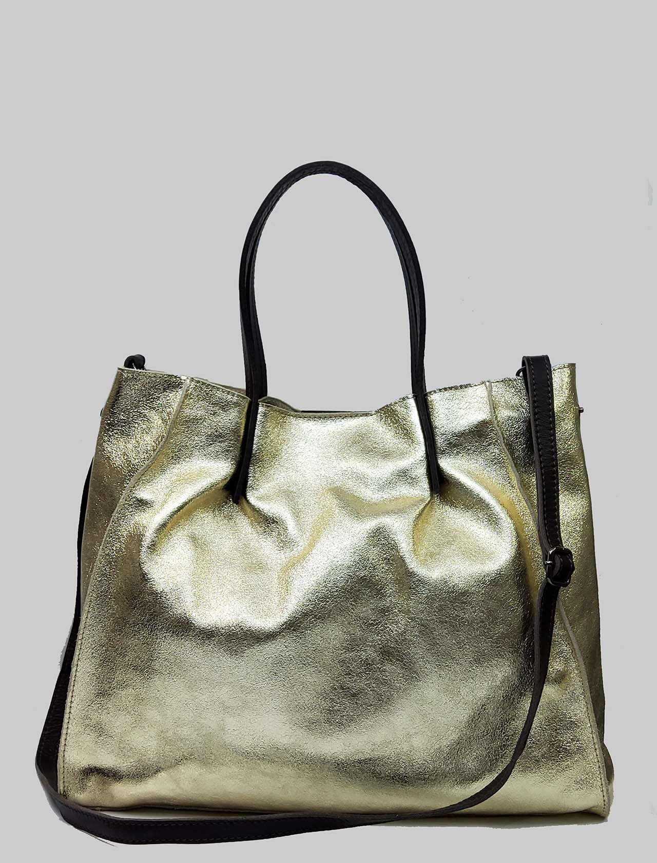 Woman Bags in Gold Laminated Leather with Double Handles and Removable Shoulder Strap Spatarella | Bags and backpacks | PE0212602
