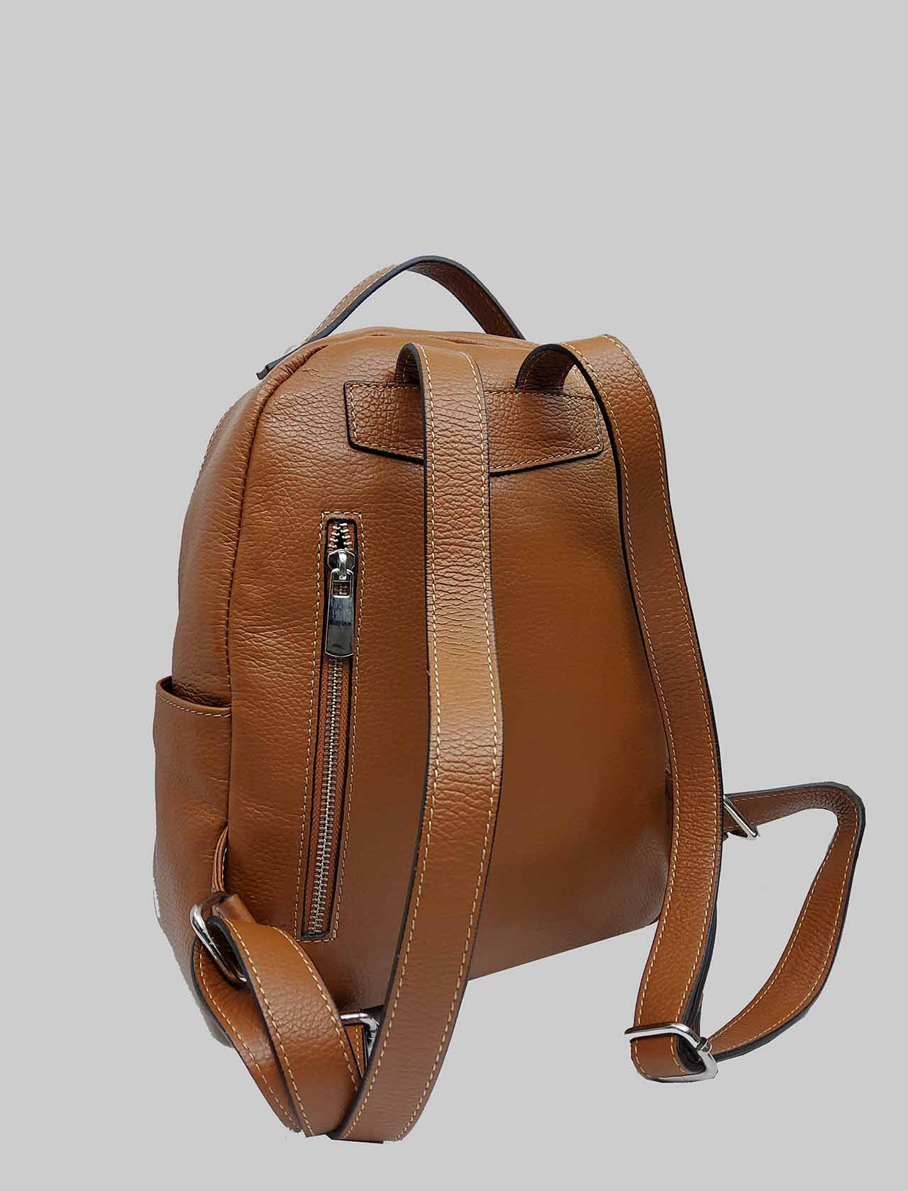 Woman Backpacks in Tan Leather with Multicolor Closure Zip Spatarella   Bags and backpacks   PE0215014