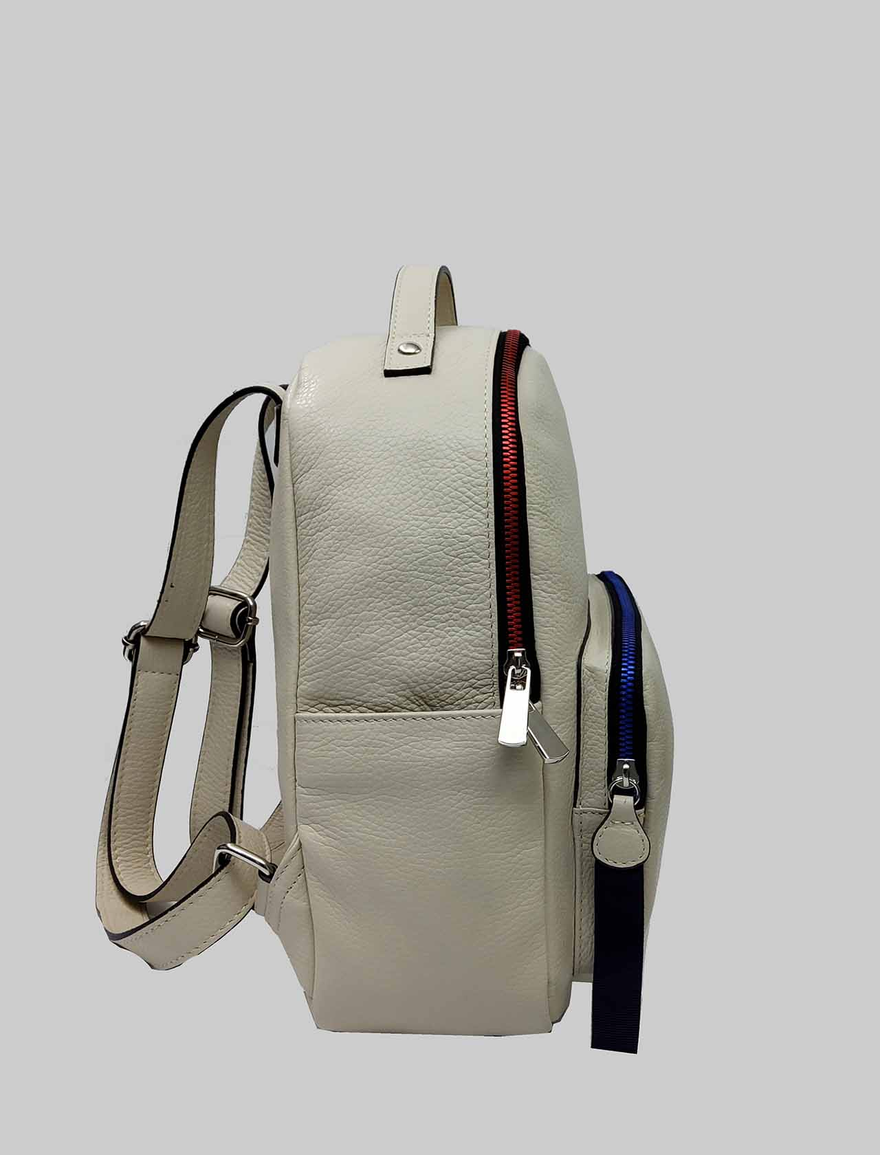 Woman Backpacks in White Leather with Multicolor Closure Zip Spatarella | Bags and backpacks | PE0215100