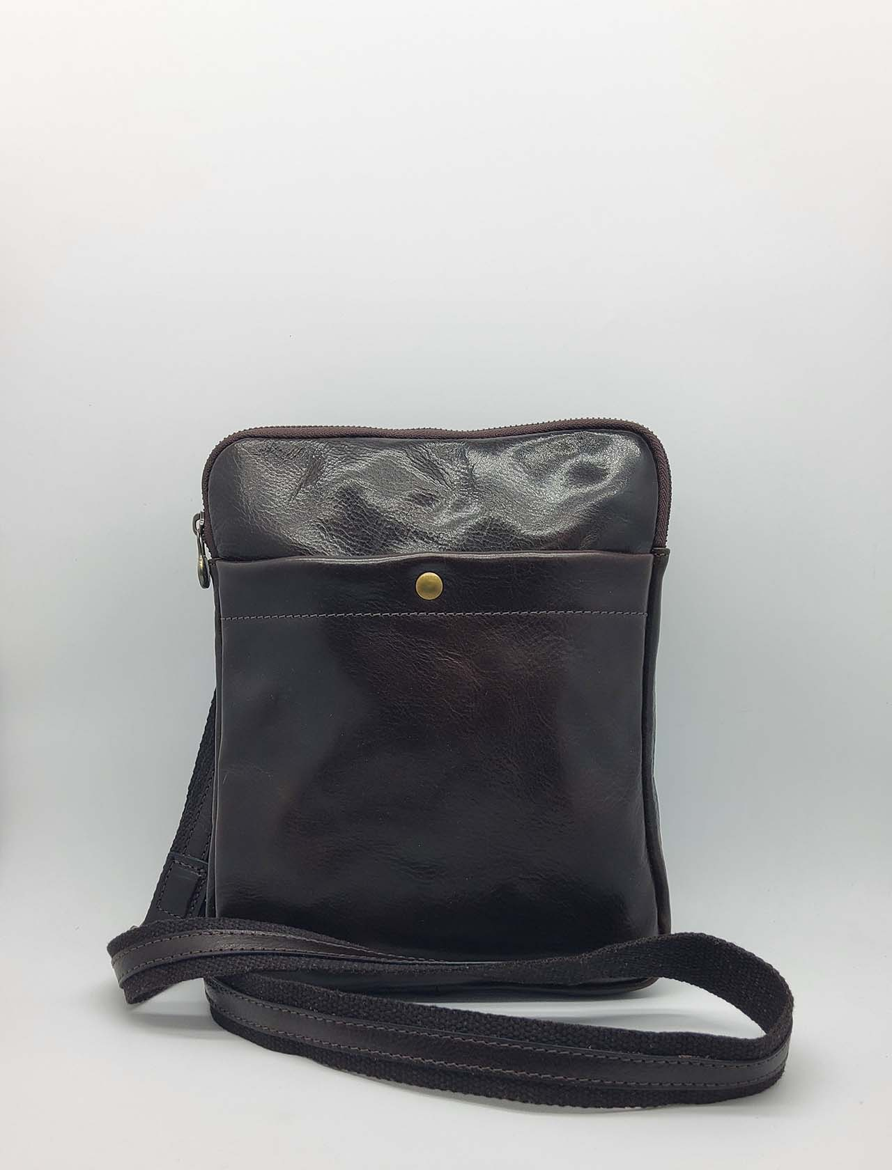 Men's Accessories Small Bag in Dark Brown Leather with Shoulder Strap and Zip Spatarella   Bags and backpacks   PEU0201013