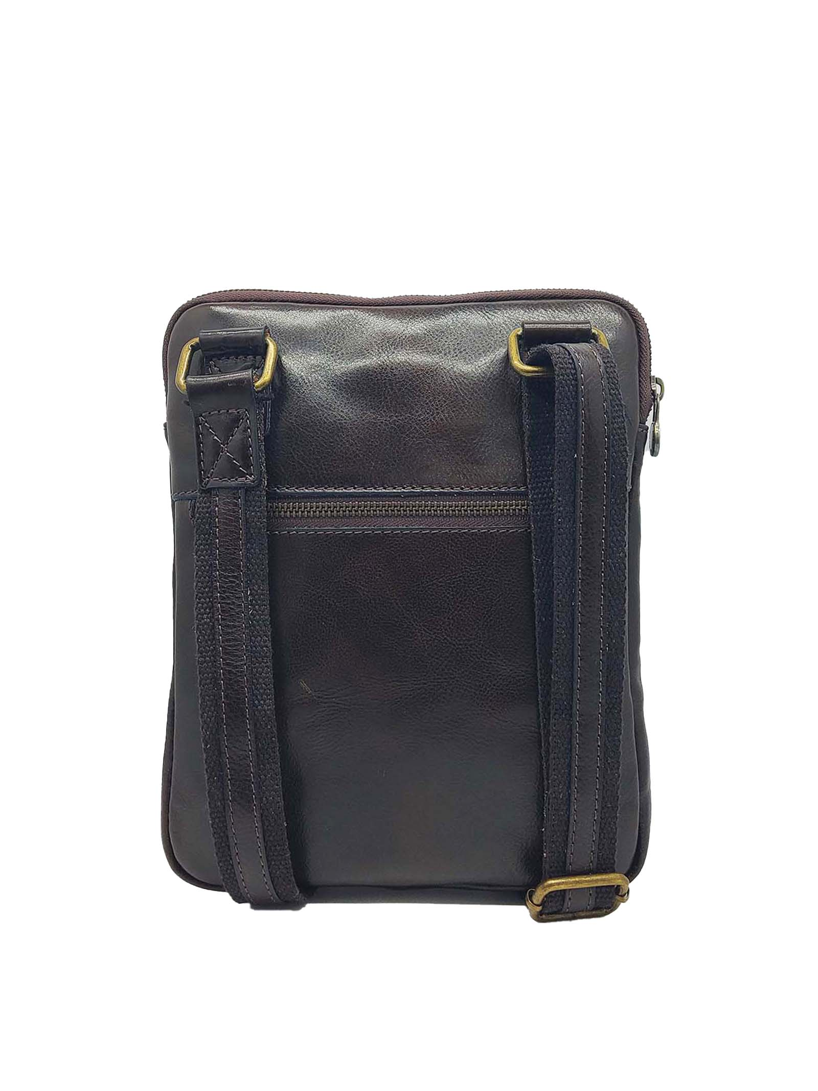Men's Accessories Small Bag in Dark Brown Leather with Shoulder Strap and Zip Spatarella | Bags and backpacks | PEU0201013